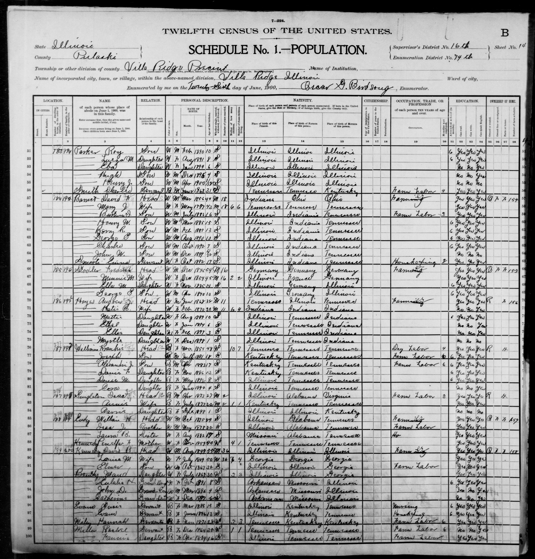 Illinois: PULASKI County, Enumeration District 74, Sheet No. 14B