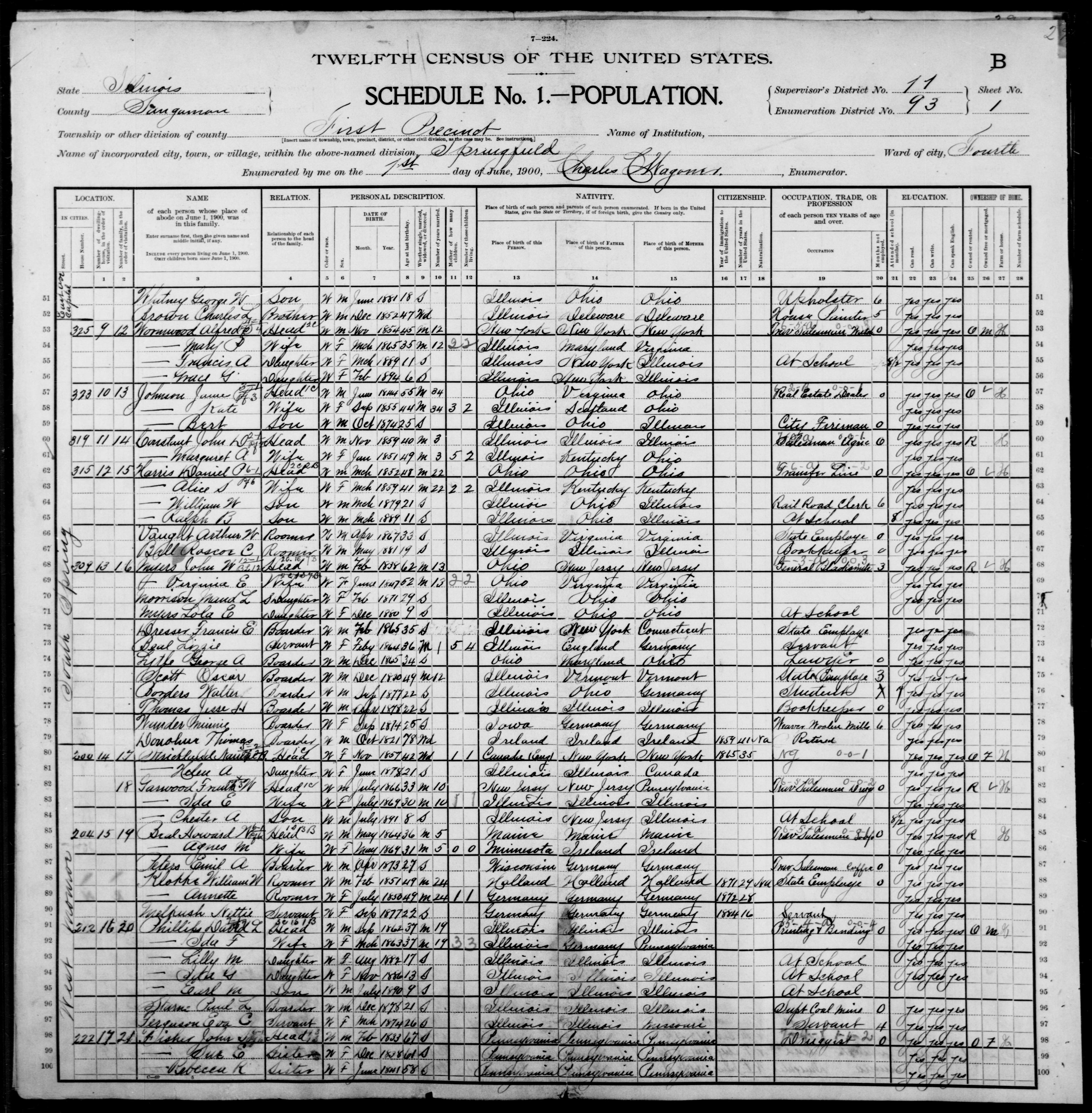 Illinois: SANGAMON County, Enumeration District 93, Sheet No. 1B