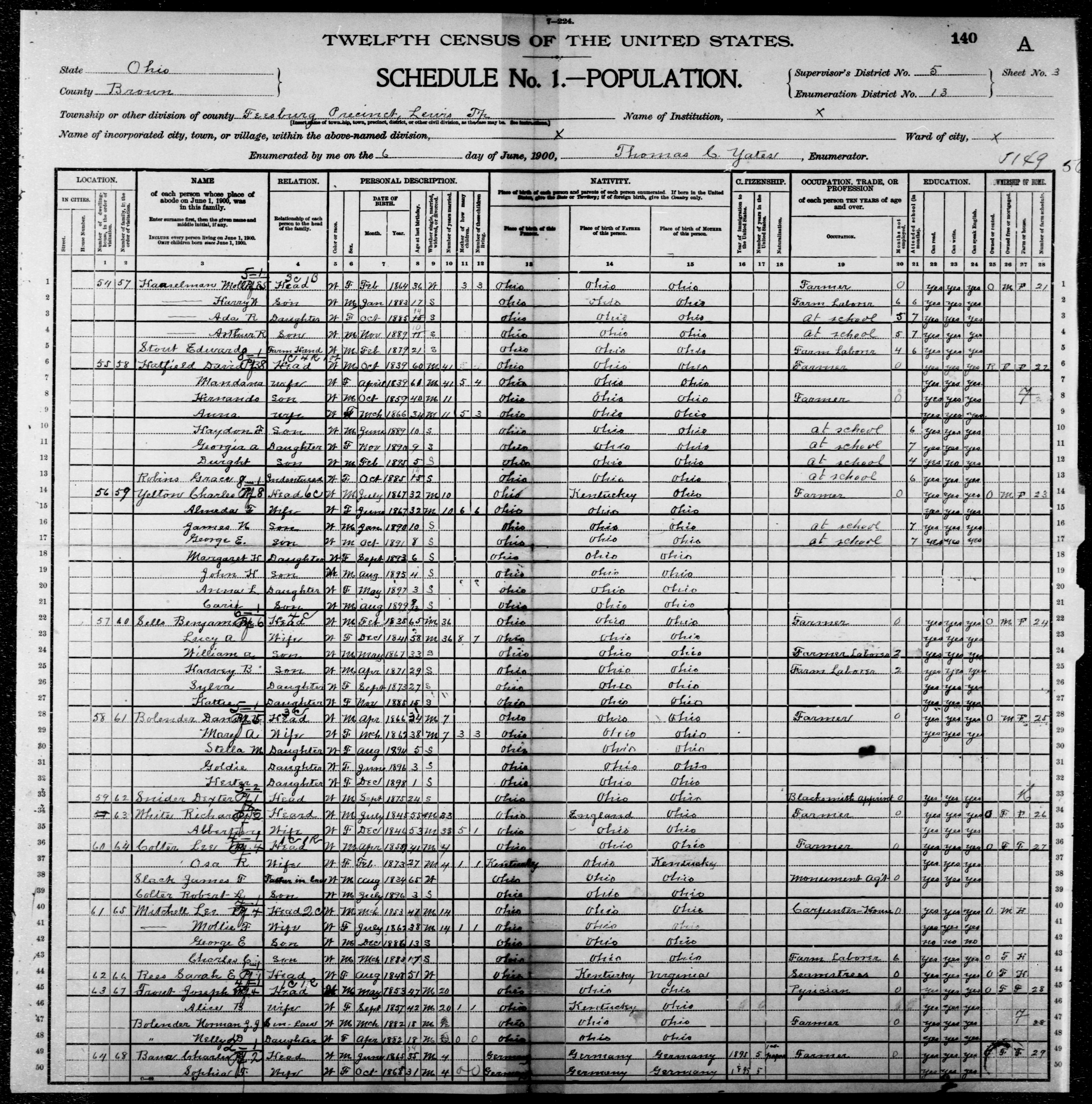 Ohio: BROWN County, Enumeration District 13, Sheet No. 3A