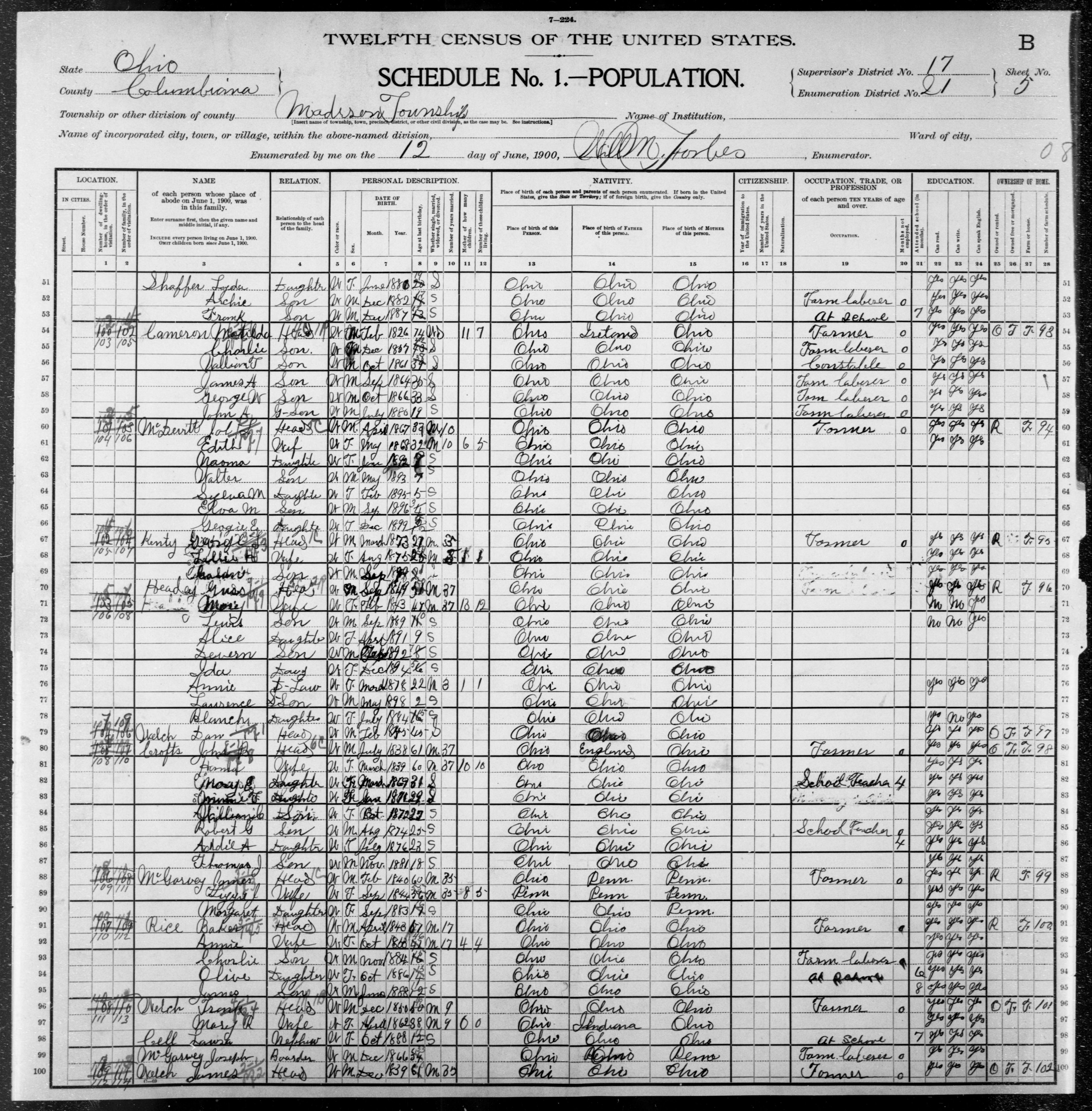 Ohio: COLUMBIANA County, Enumeration District 21, Sheet No. 5B