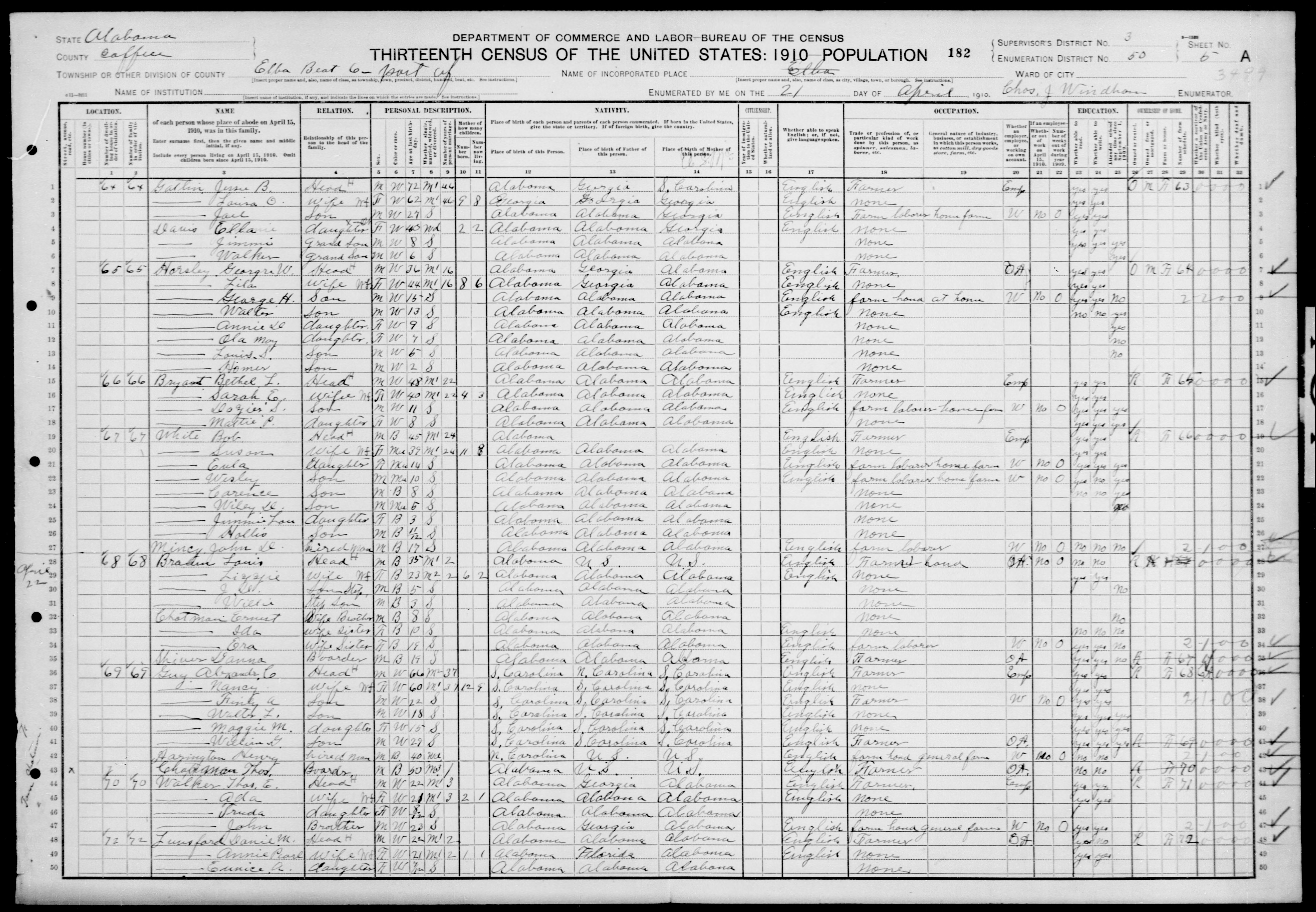 Alabama: COFFEE County, Enumeration District 50, Sheet No. 5A