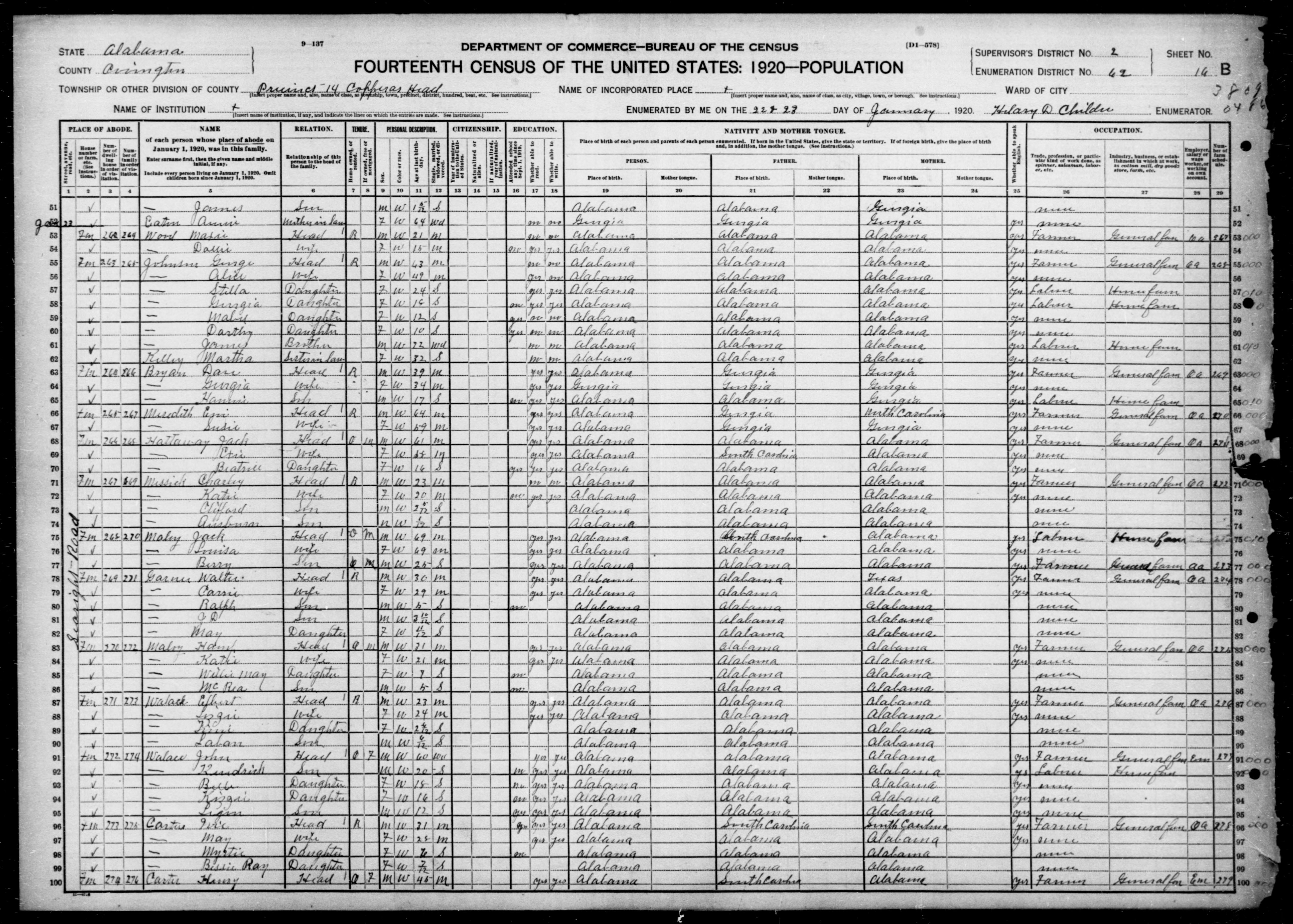 Alabama: COVINGTON County, Enumeration District 62, Sheet No. 16B