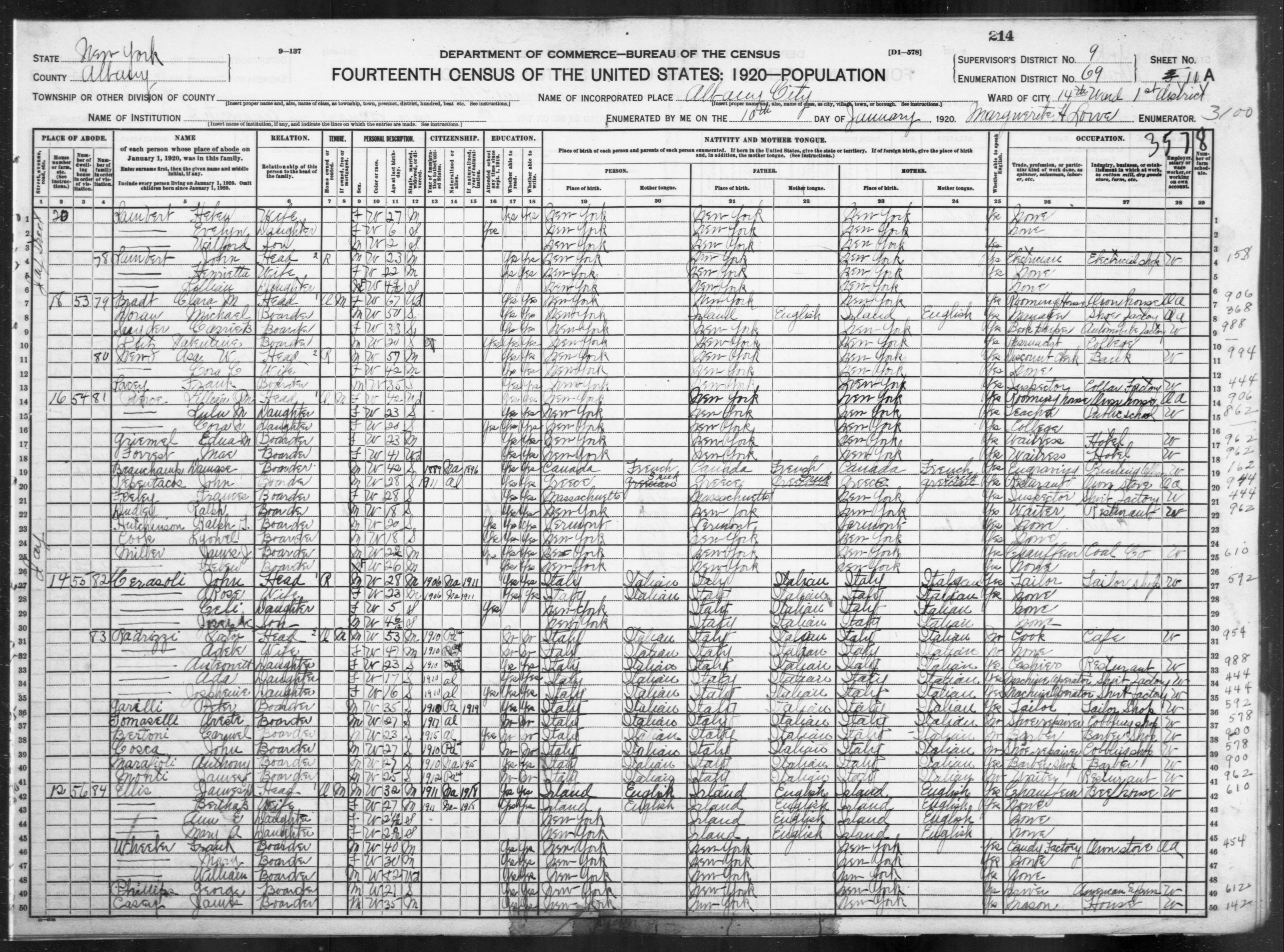 New York: ALBANY County, Enumeration District 69, Sheet No. 11A