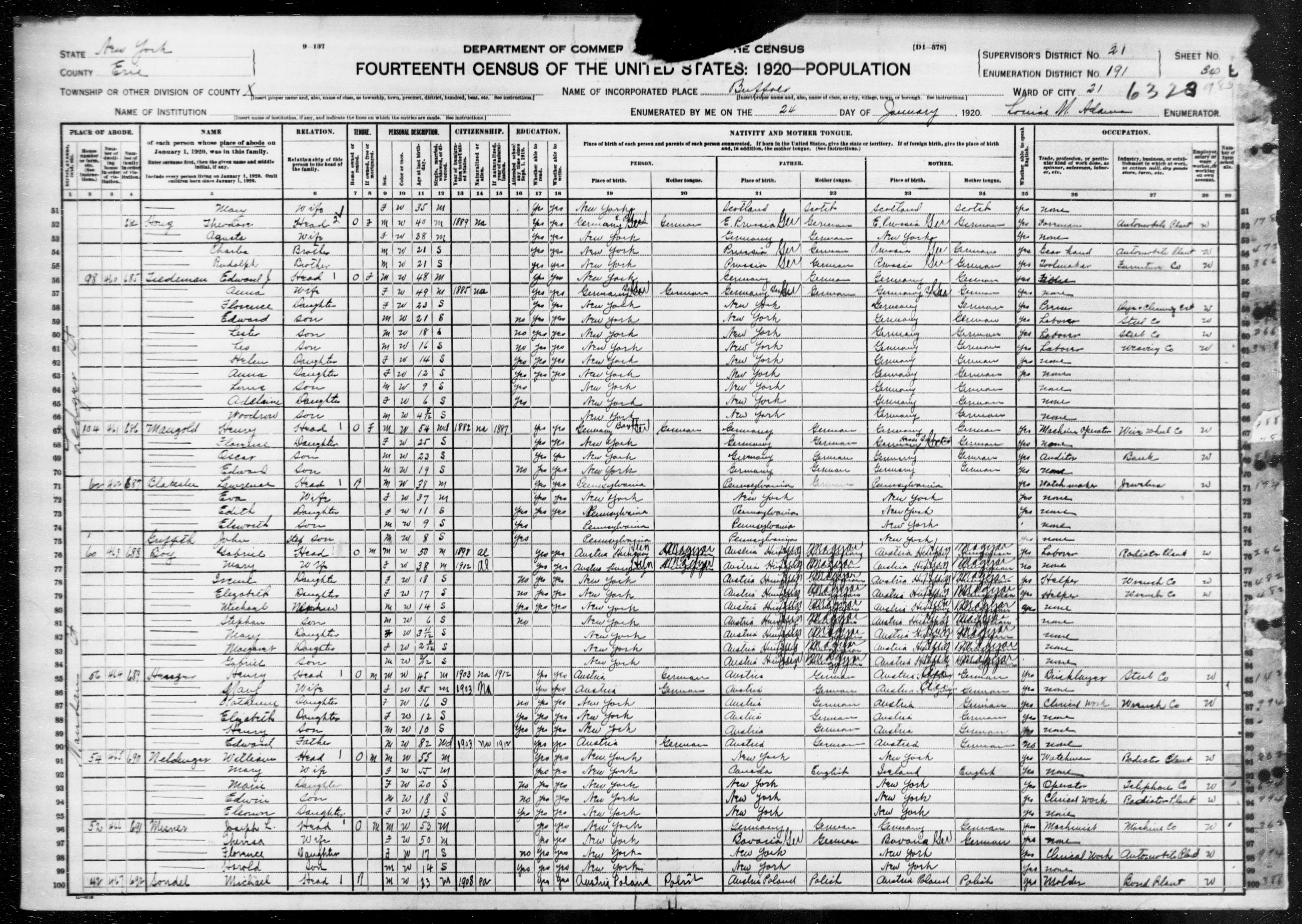 New York: ERIE County, Enumeration District 191, Sheet No. 34B