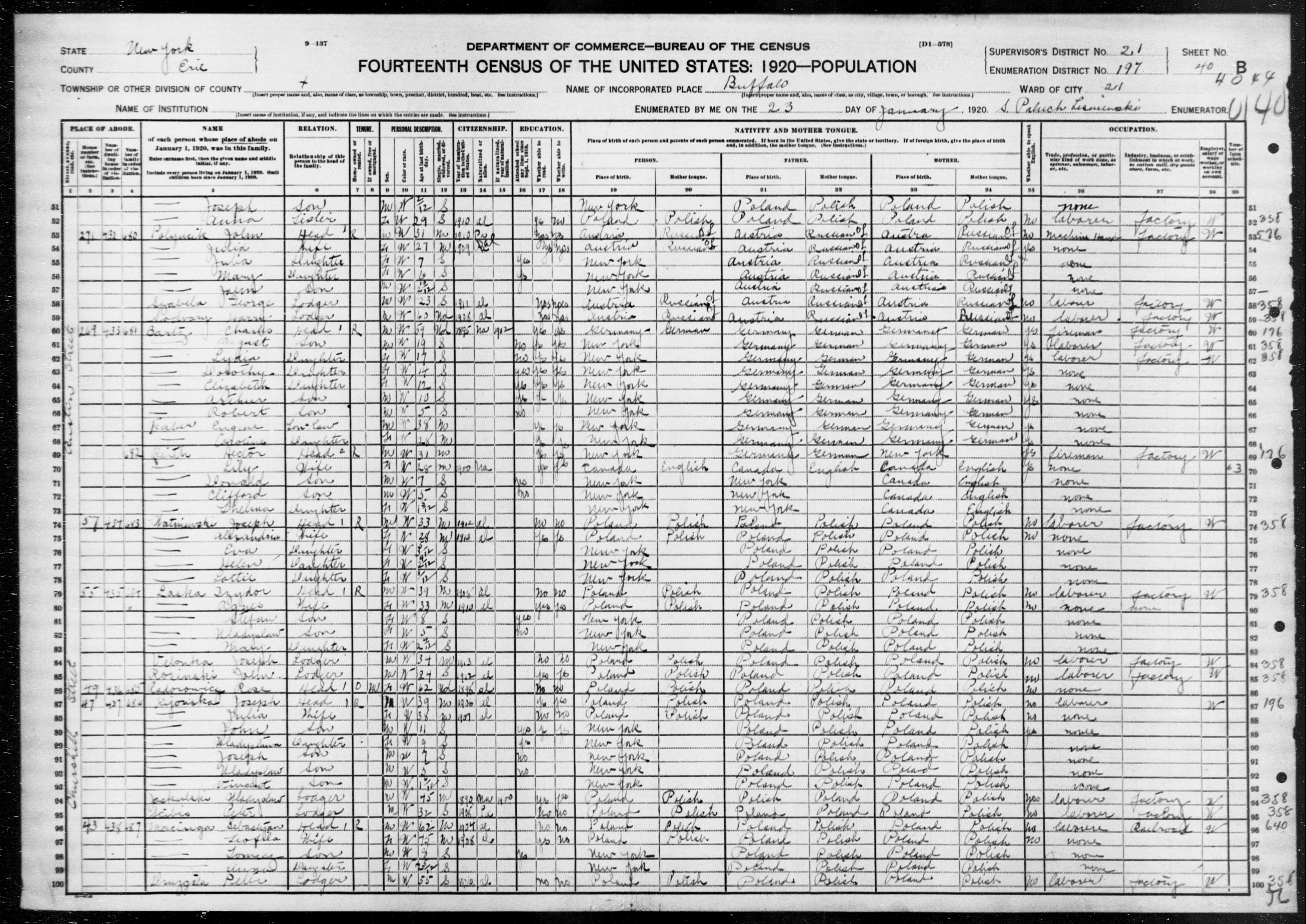New York: ERIE County, Enumeration District 197, Sheet No. 40B