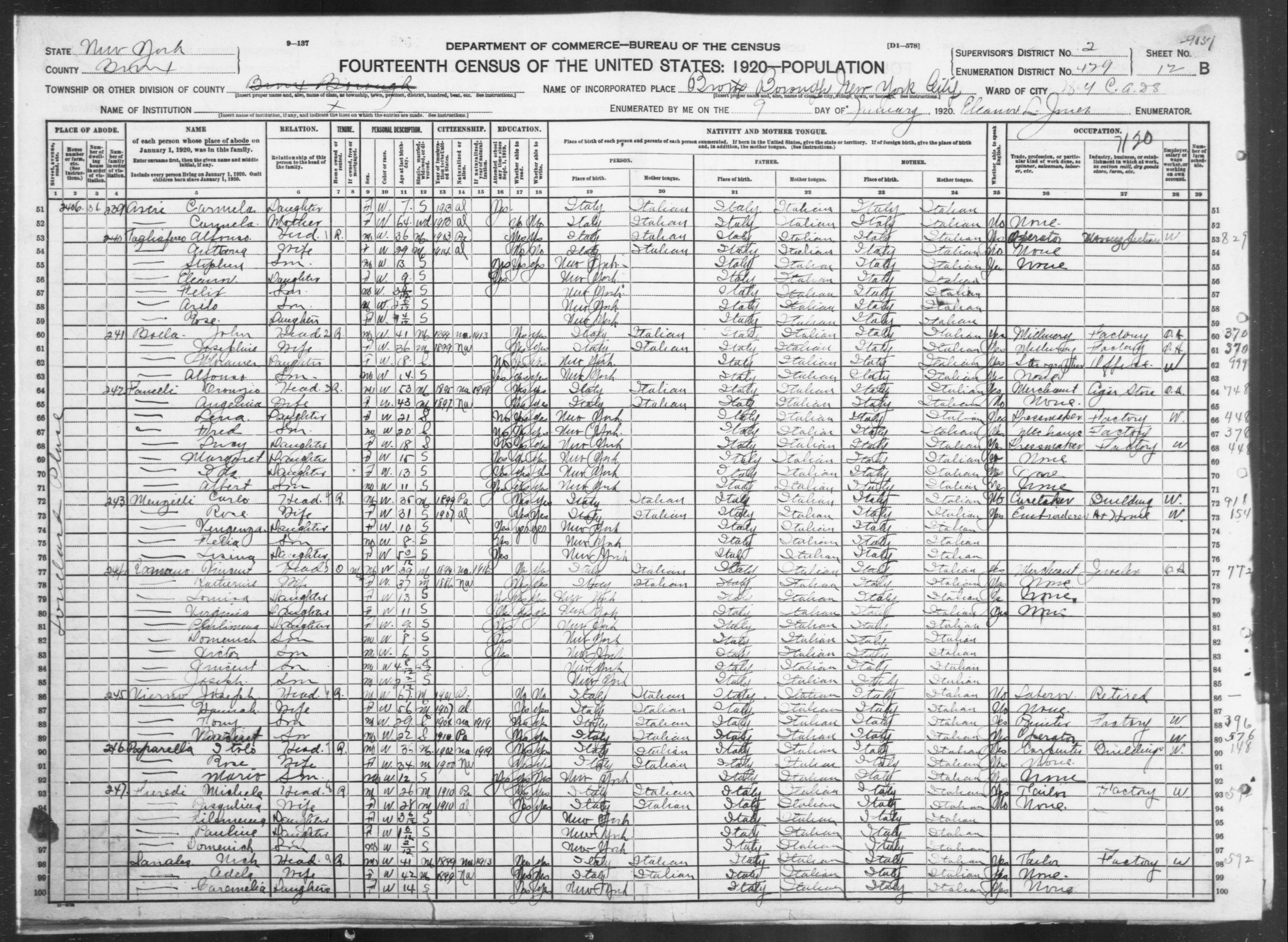 New York: BRONX County, Enumeration District 429, Sheet No. 12B