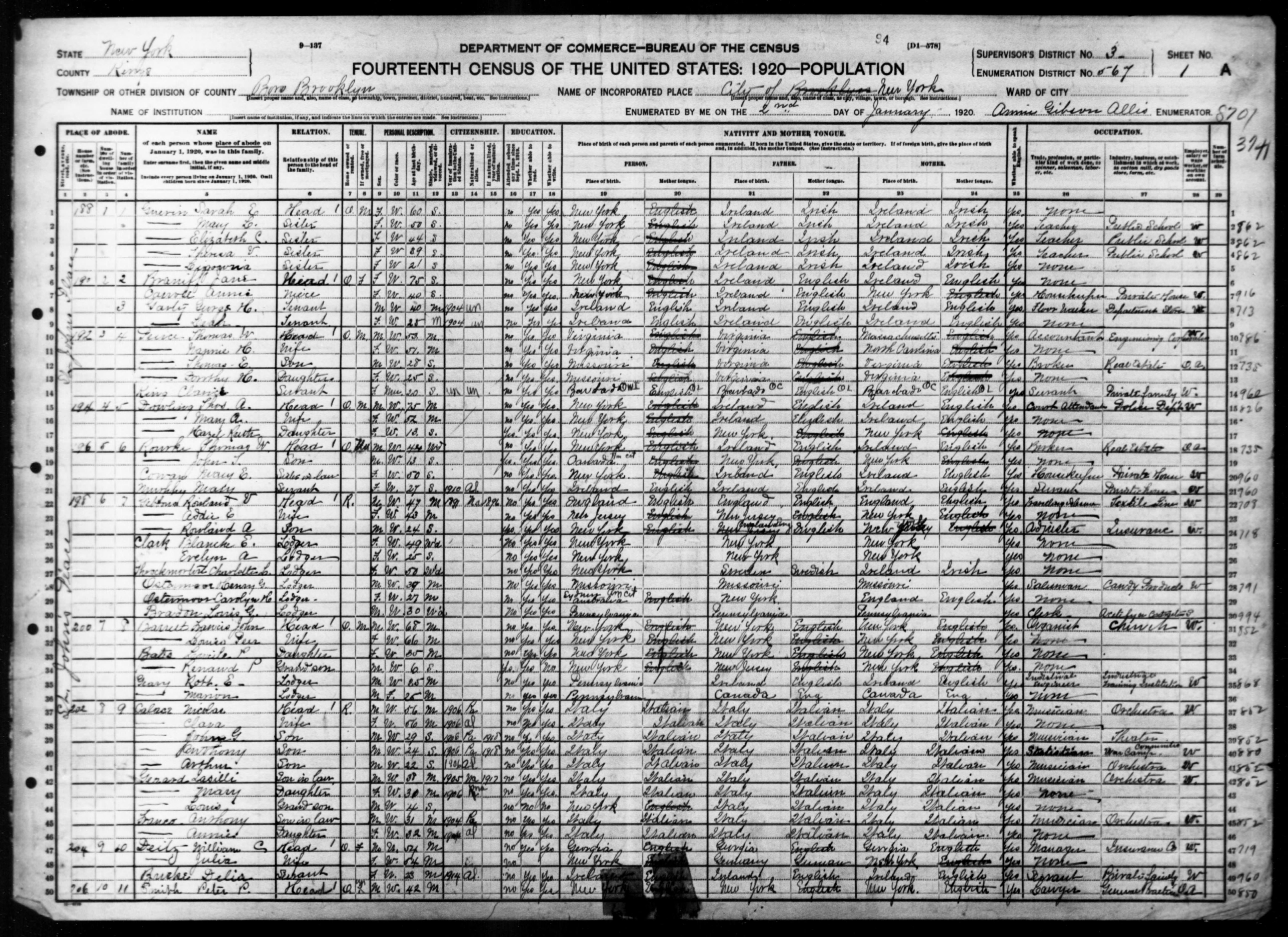 New York: KINGS County, Enumeration District 567, Sheet No. 1A