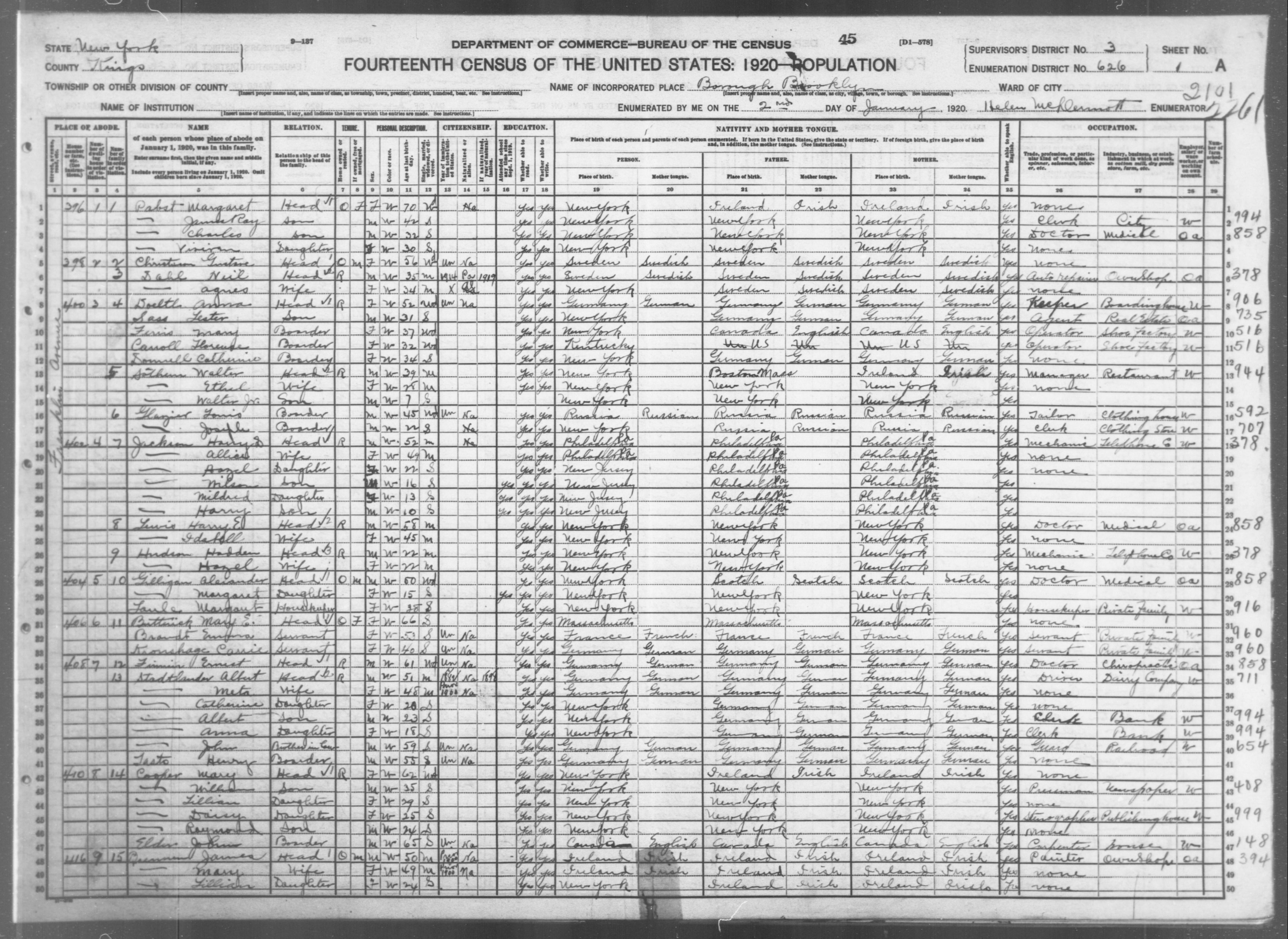 New York: KINGS County, Enumeration District 626, Sheet No. 1A