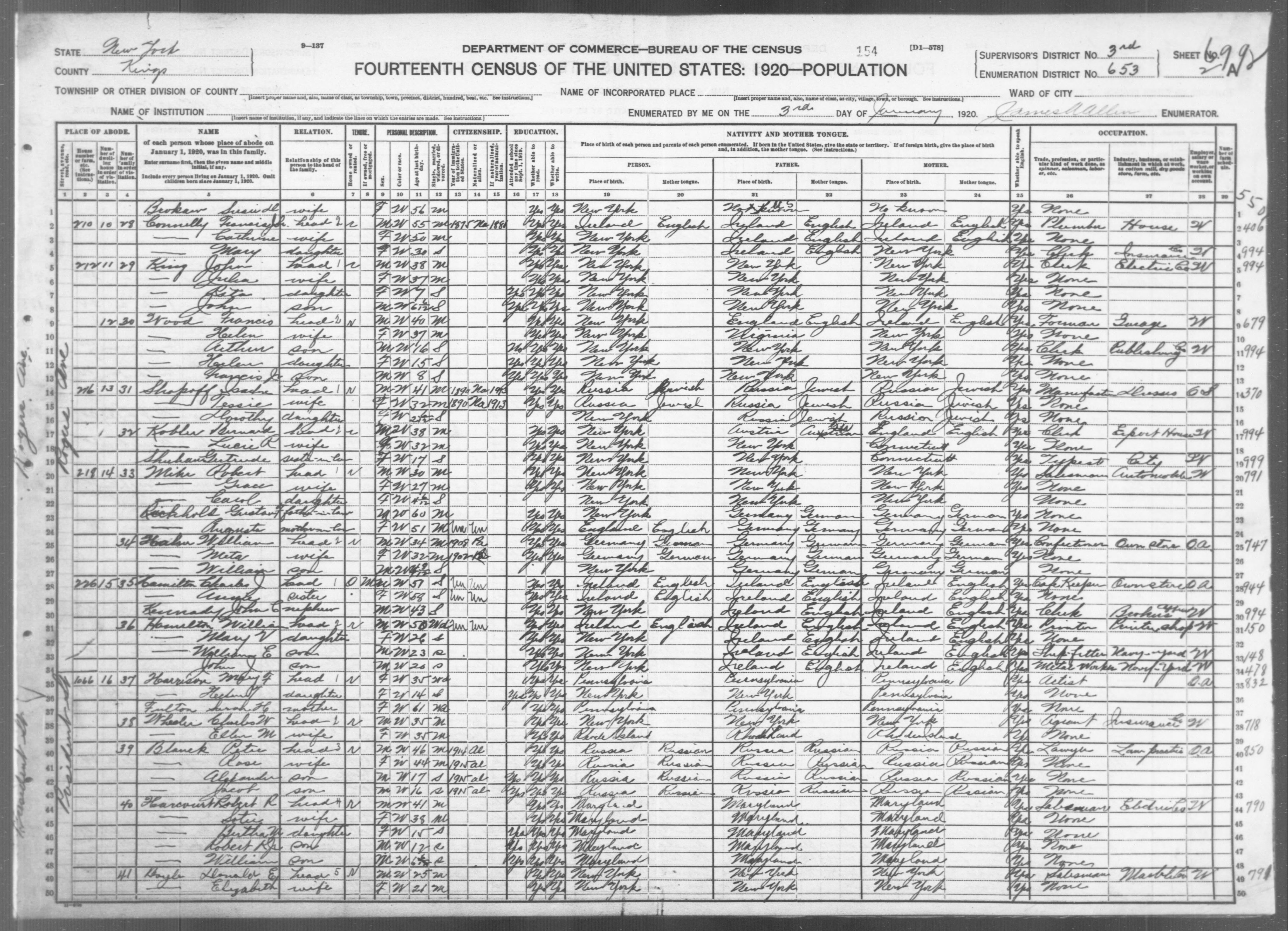 New York: KINGS County, Enumeration District 653, Sheet No. 2A
