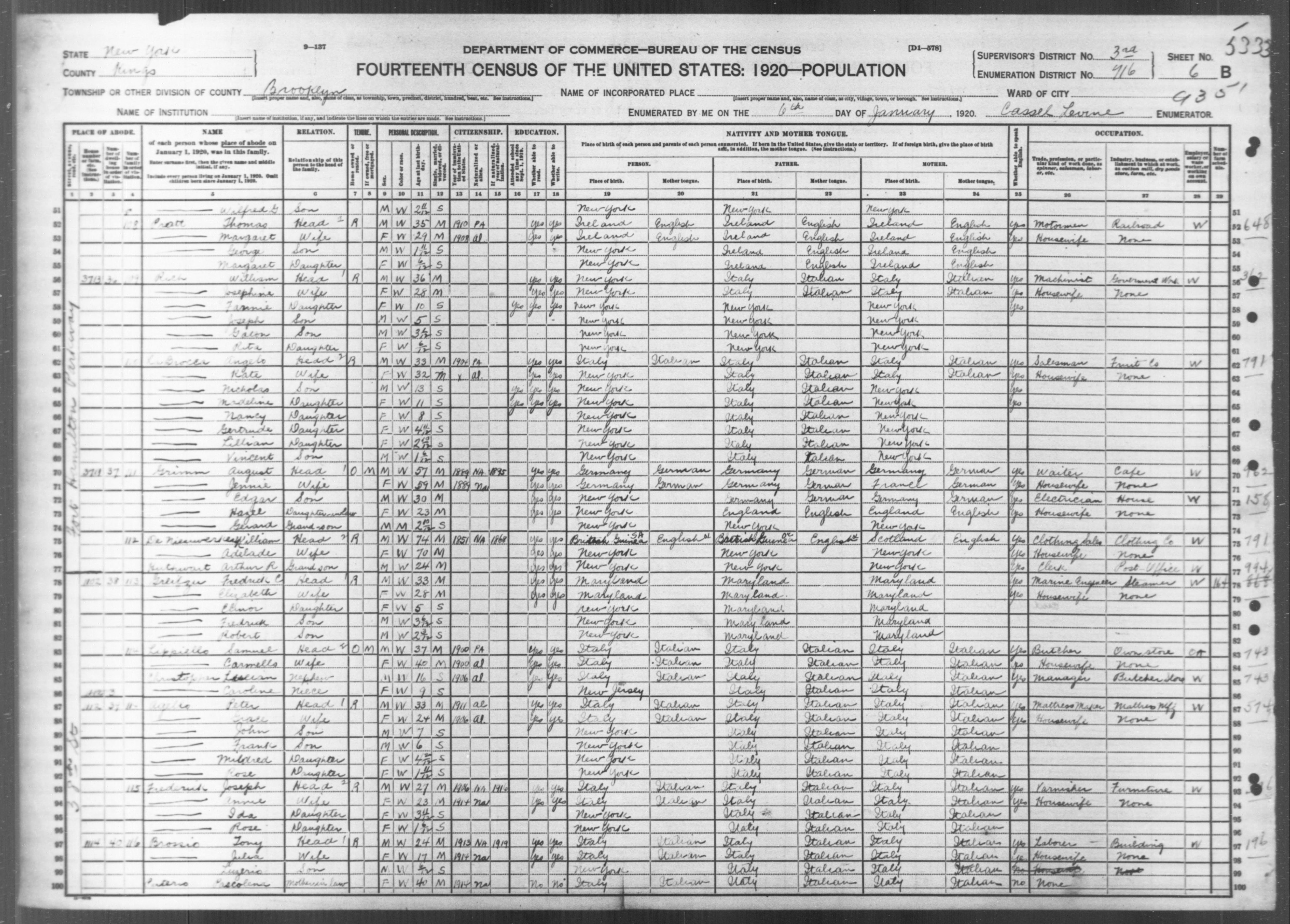 New York: KINGS County, Enumeration District 716, Sheet No. 6B