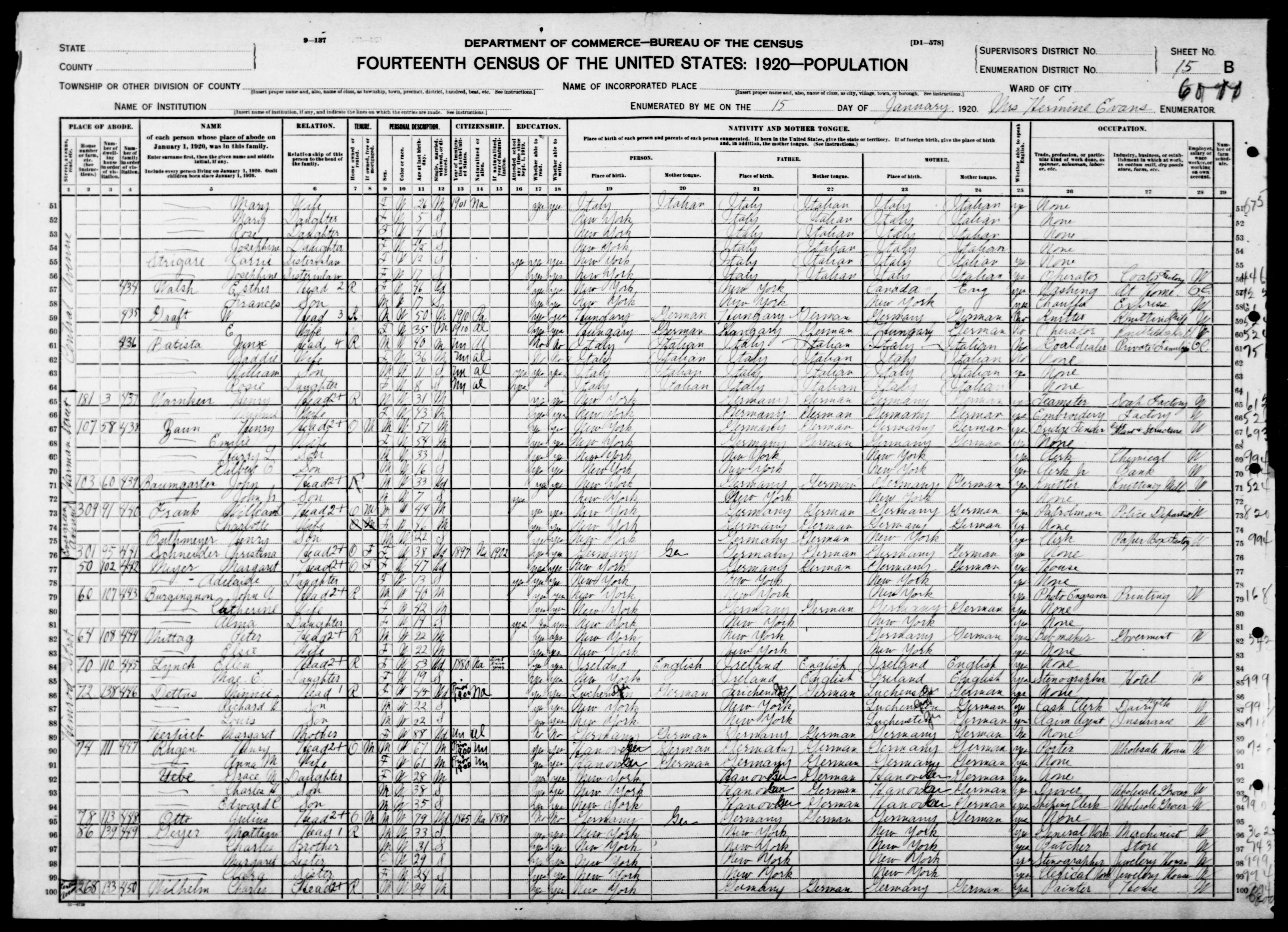 New York: KINGS County, Enumeration District 1242, Sheet No. 15B