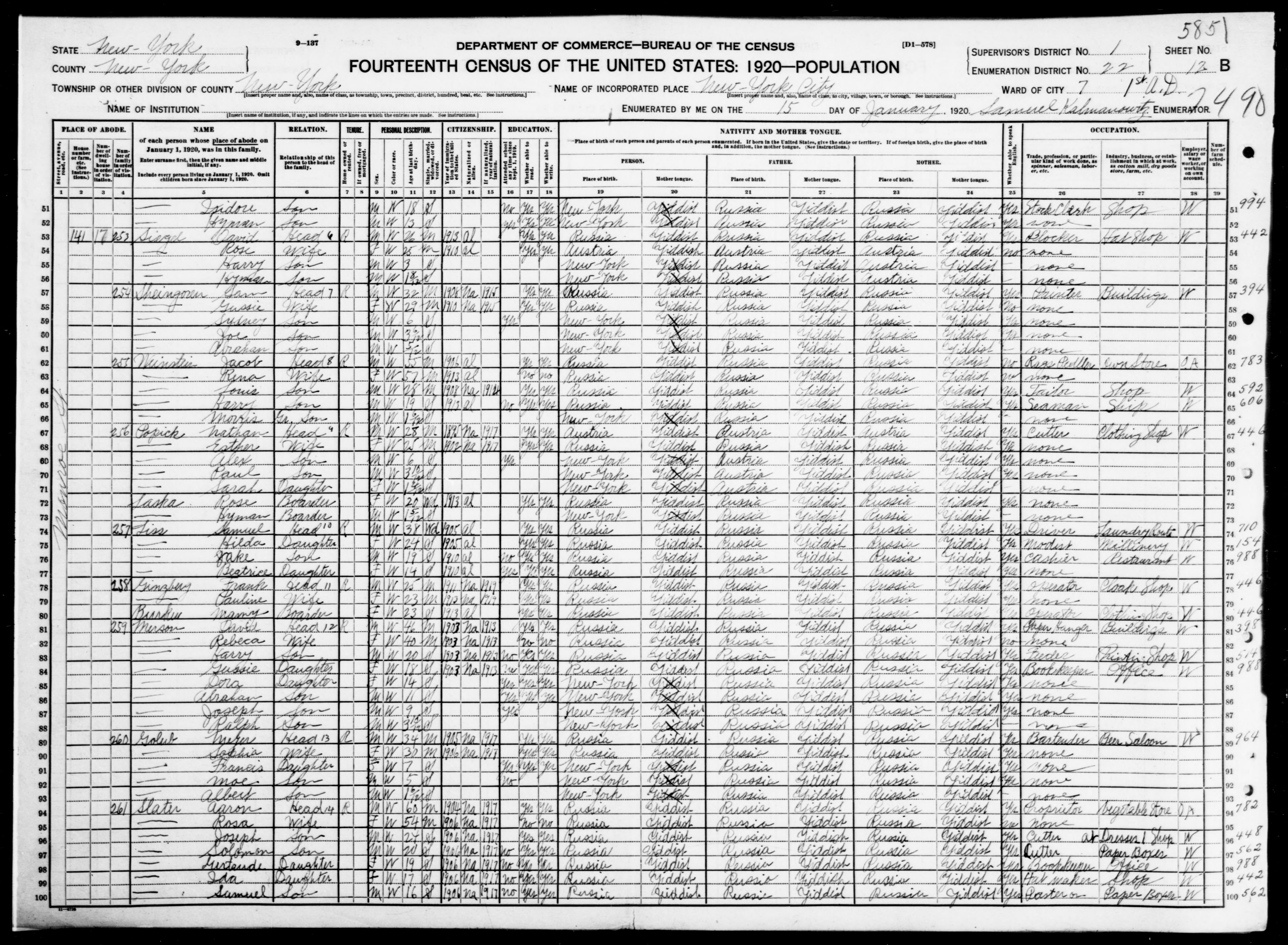 New York: NEW YORK County, Enumeration District 22, Sheet No. 12B