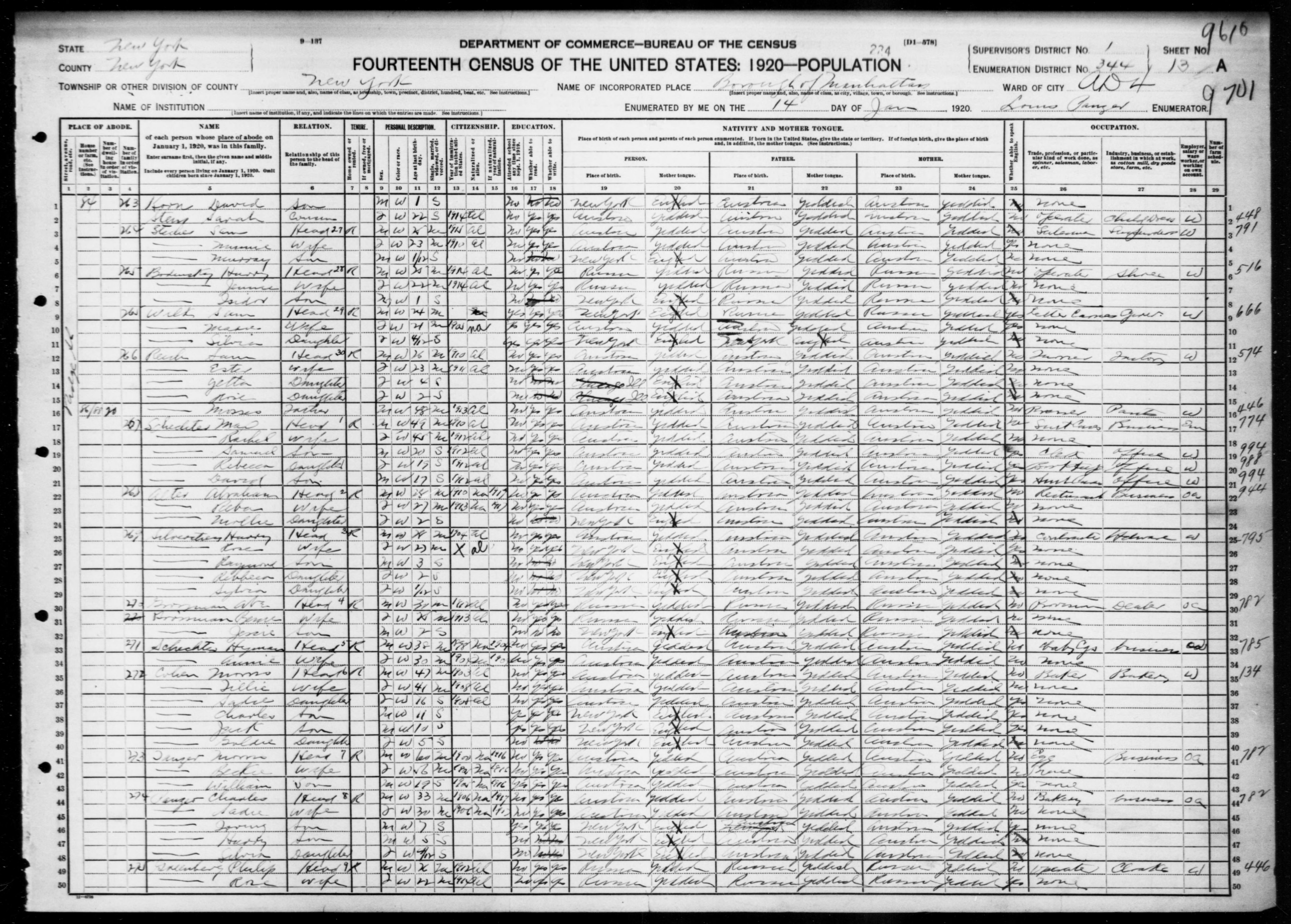 New York: NEW YORK County, Enumeration District 344, Sheet No. 13A