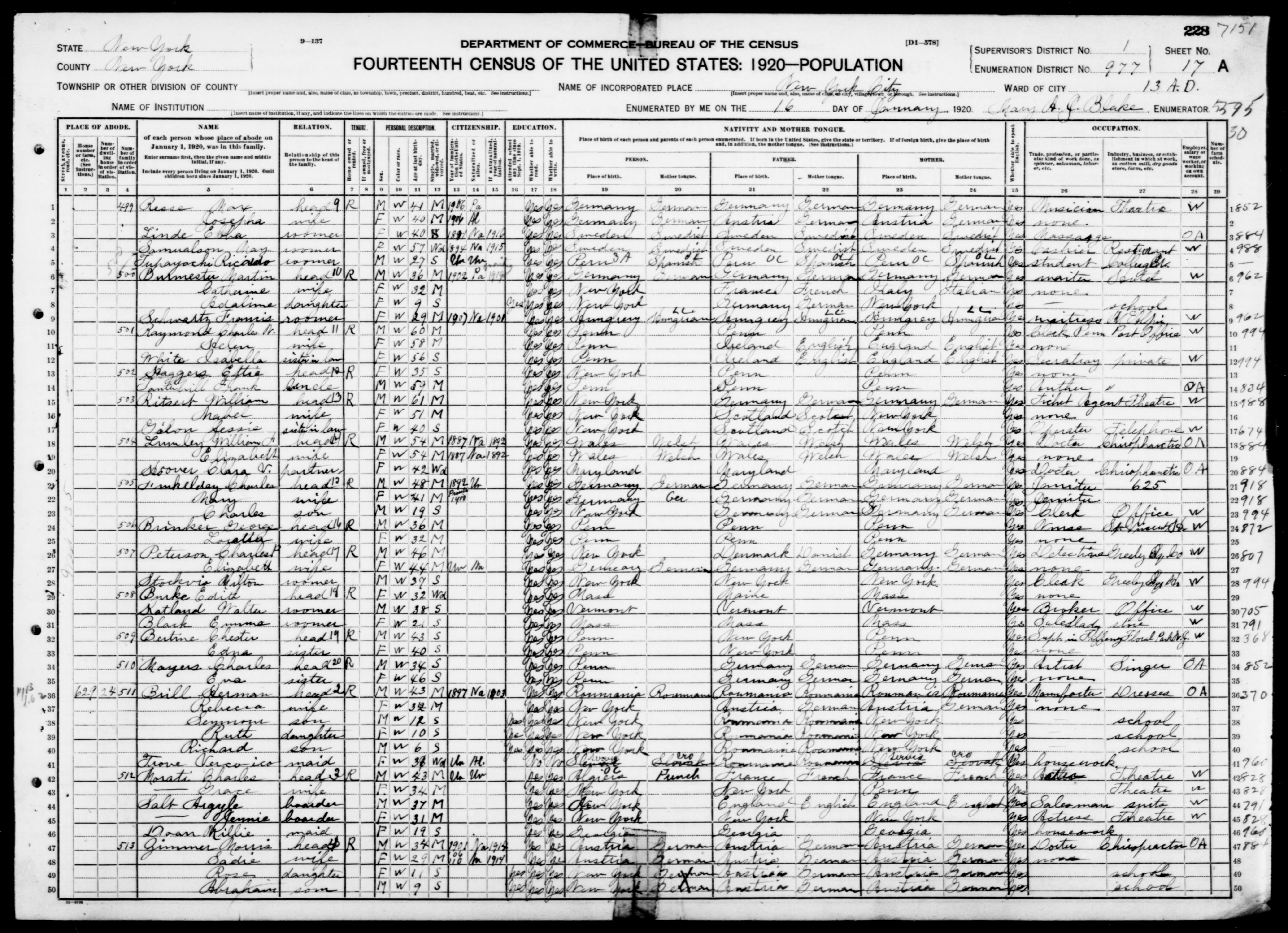 New York: NEW YORK County, Enumeration District 977, Sheet No. 17A