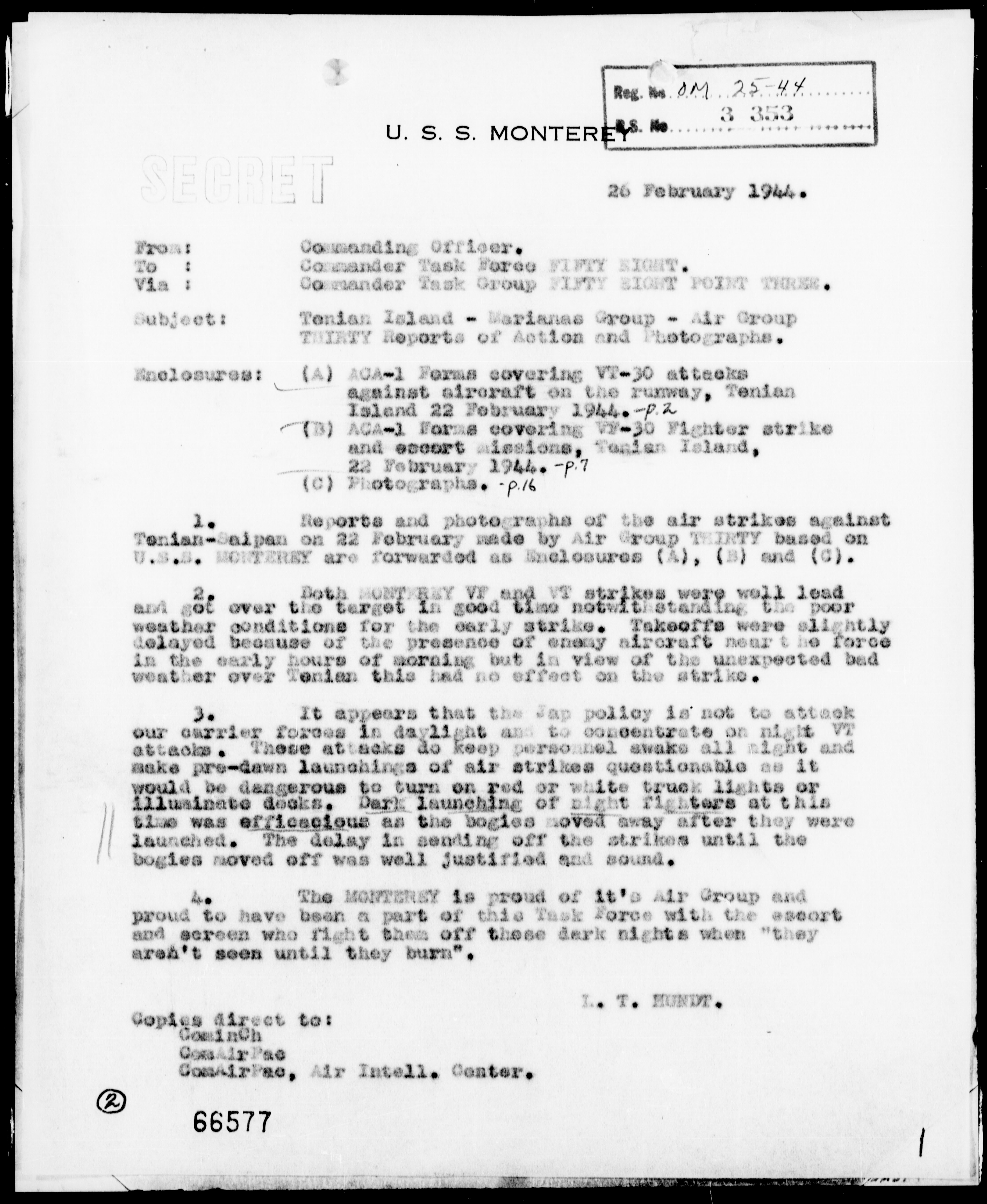 USS MONTEREY - Reports of Act of Air Gr 30 at Tenian Is, Marianas, 2/22/44