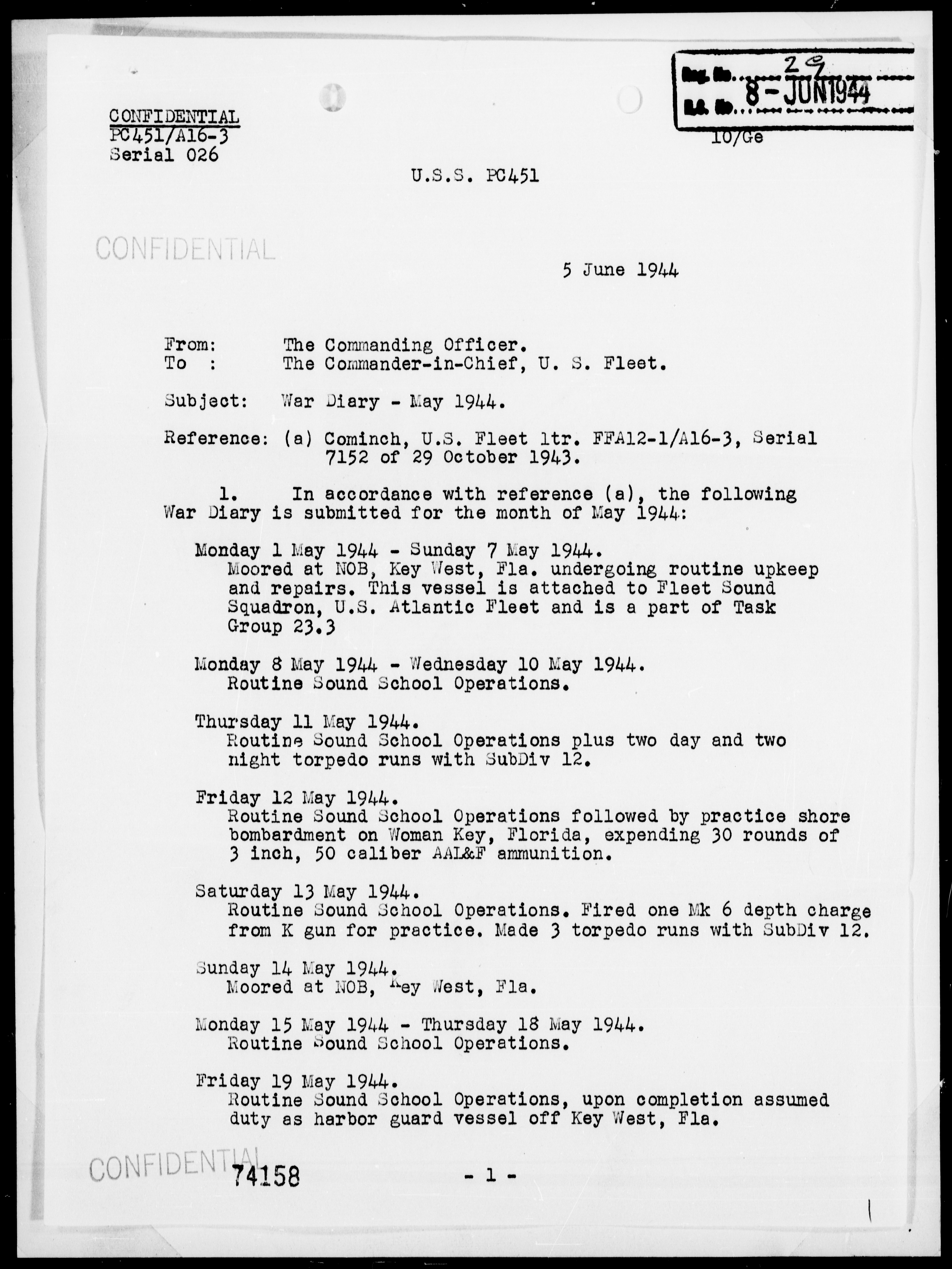 USS PC-451 - War Diary, 5/1-31/44