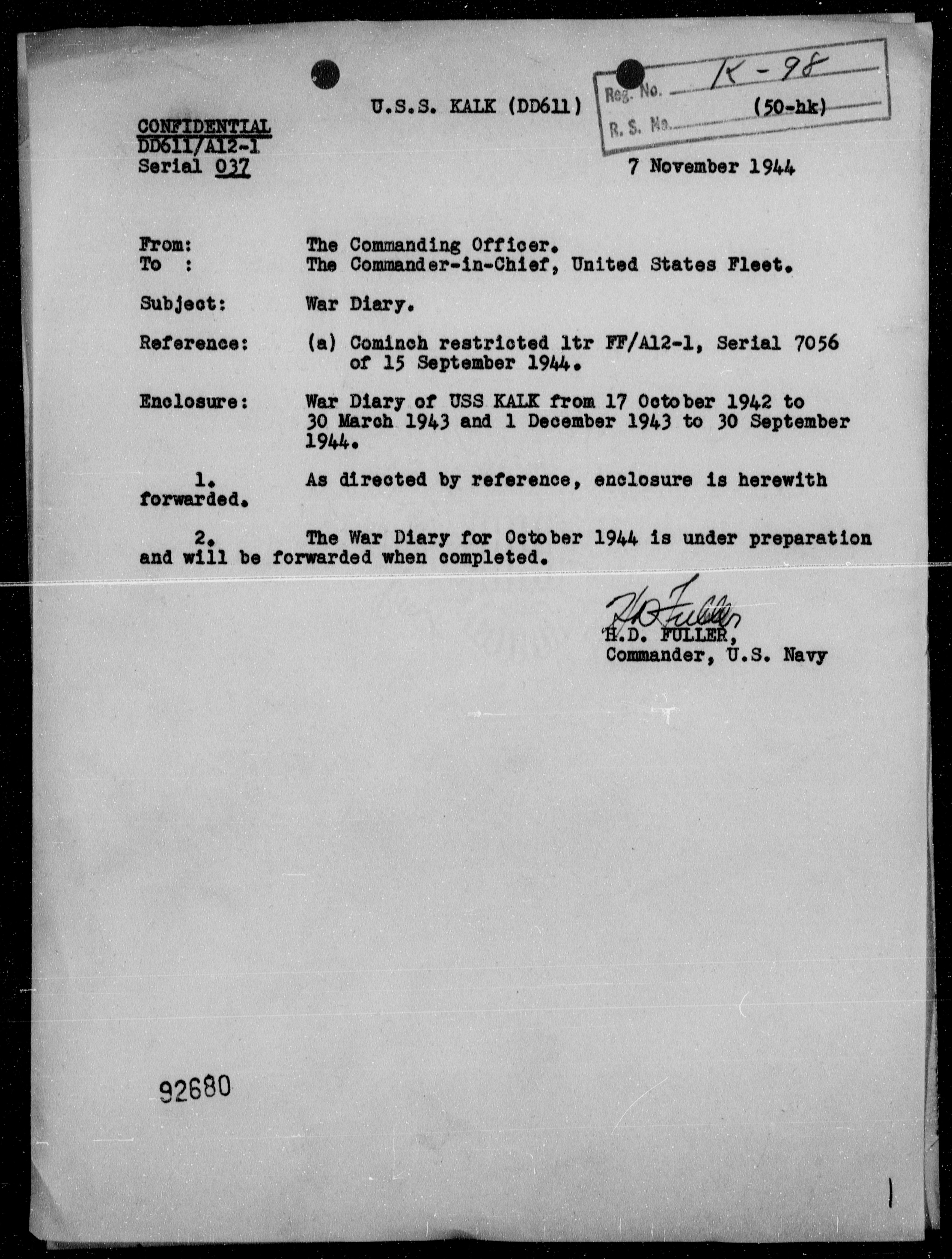 USS KALK - War Diary, 10/17/42 to 3/31/43