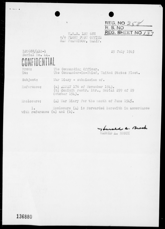 USS LST-688 - War Diary, 6/1-30/45