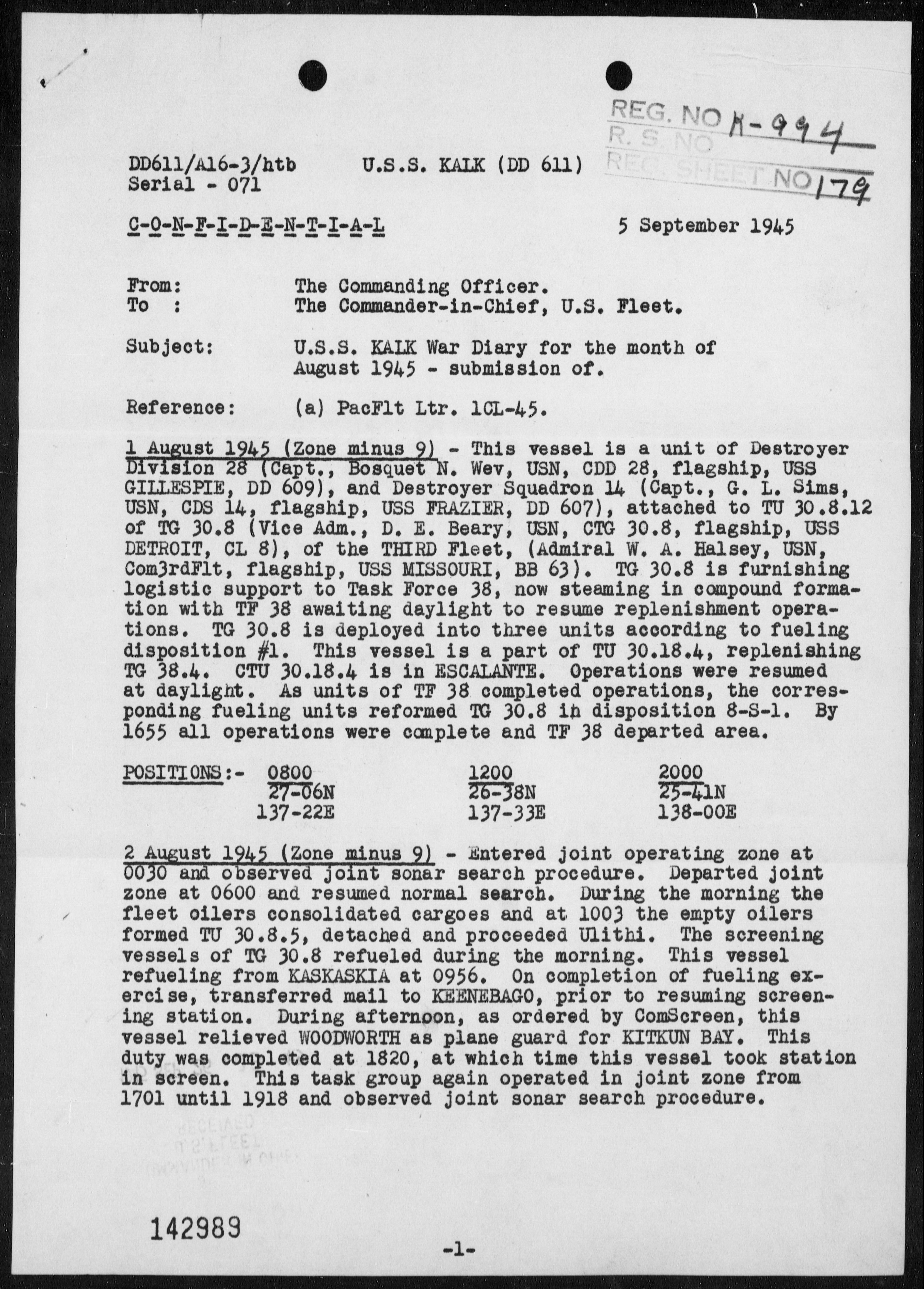 USS KALK - War Diary, 8/1-31/45