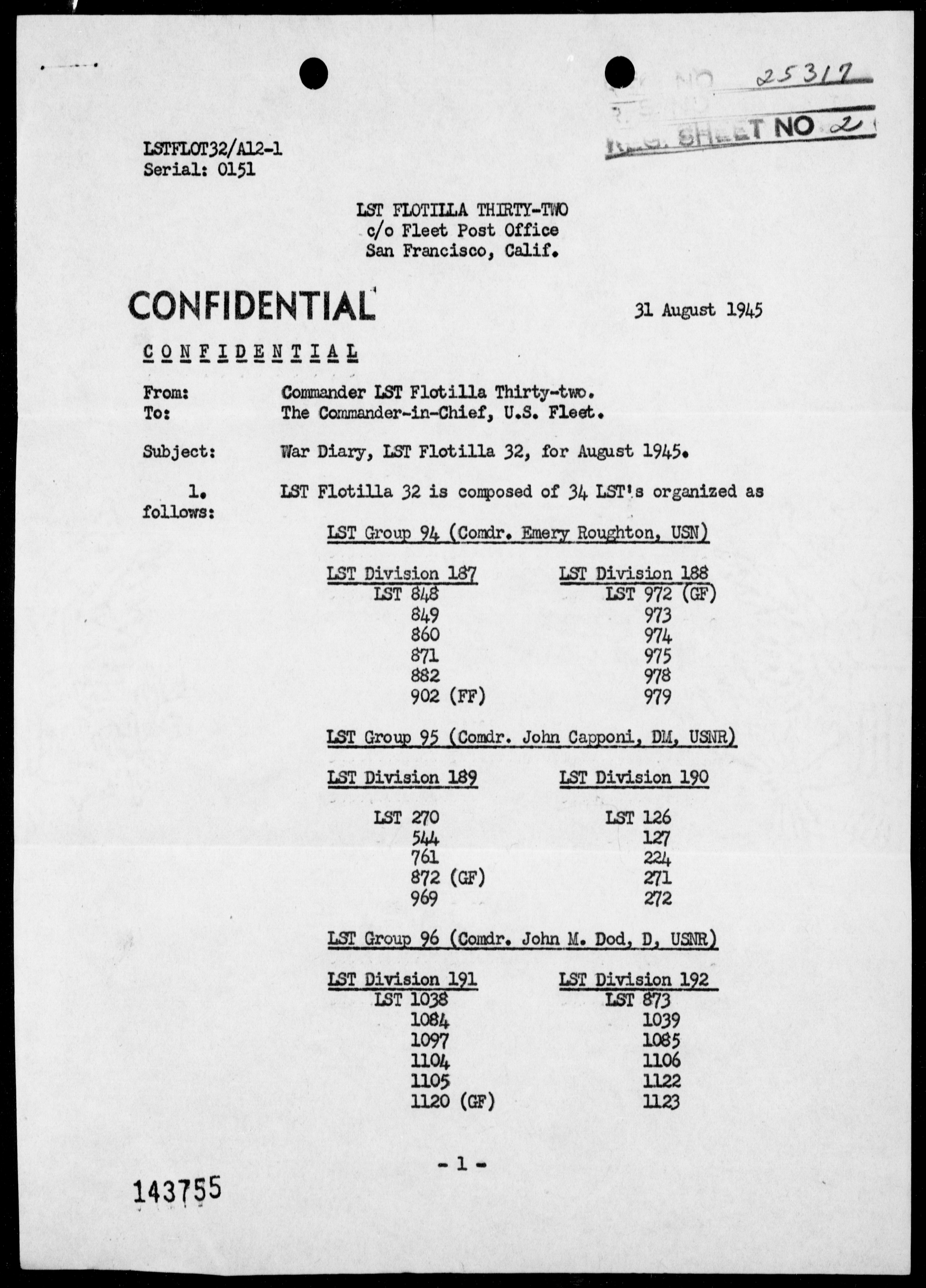 COM LST FLOT 32 - War Diary, 8/1-31/45