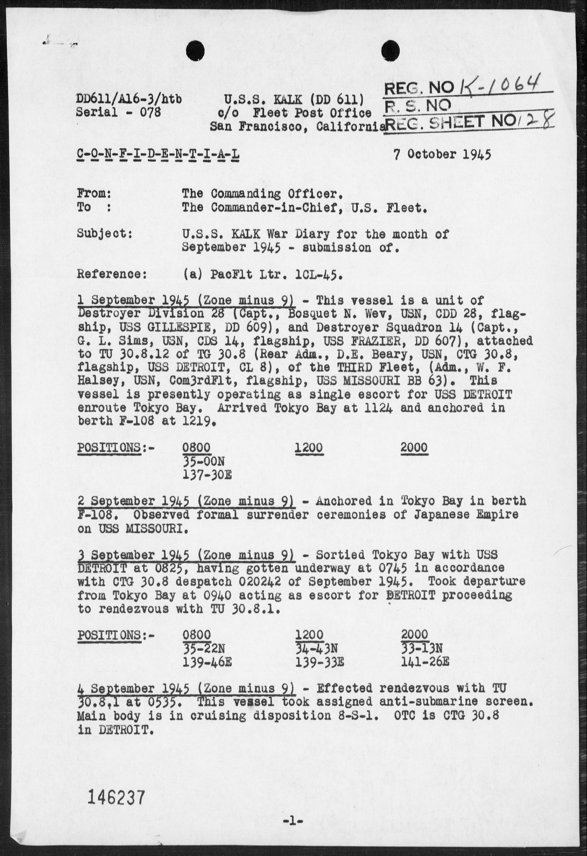 USS KALK - War Diary, 9/1-30/45