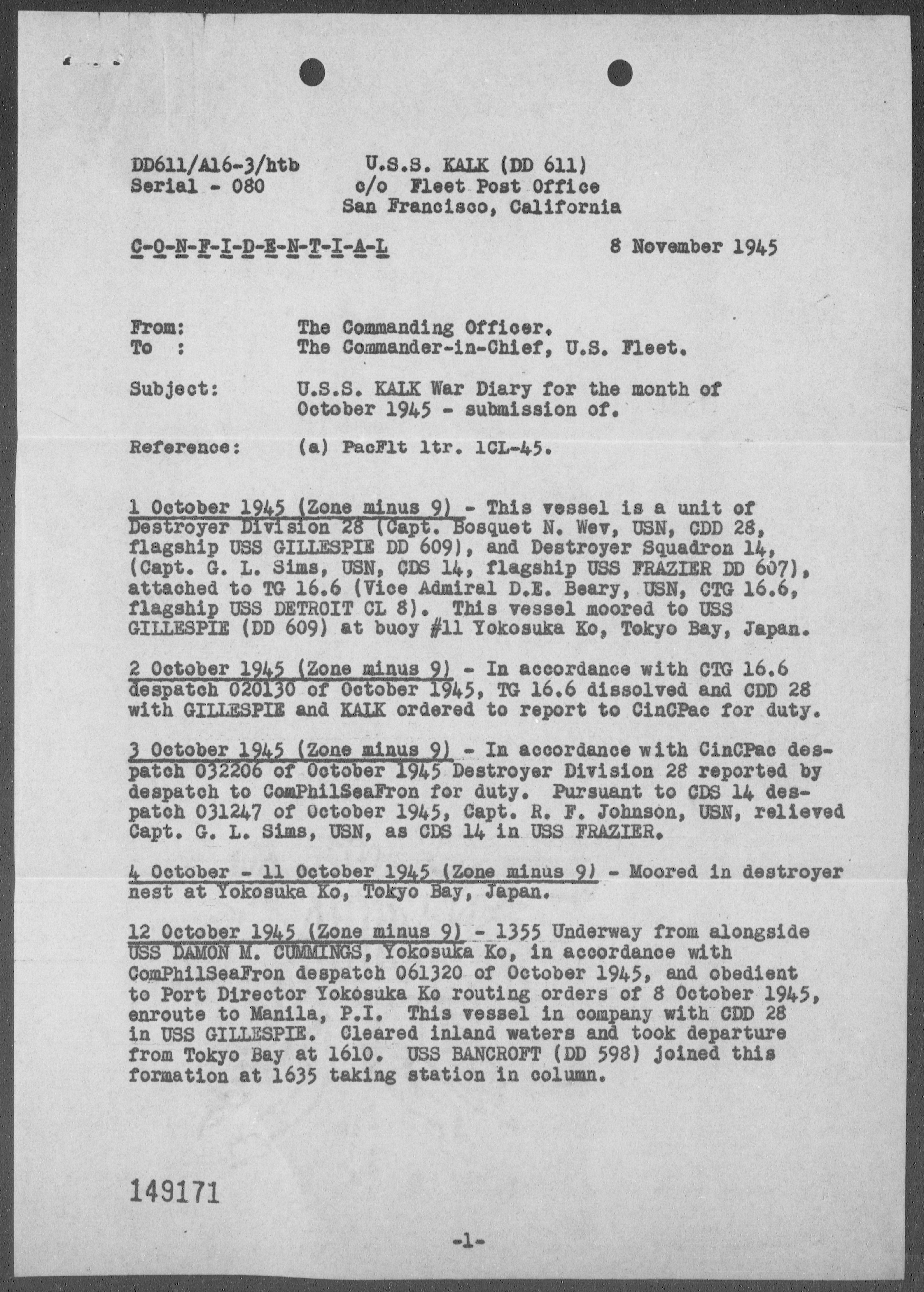 USS KALK - War Diary, 10/1-31/45