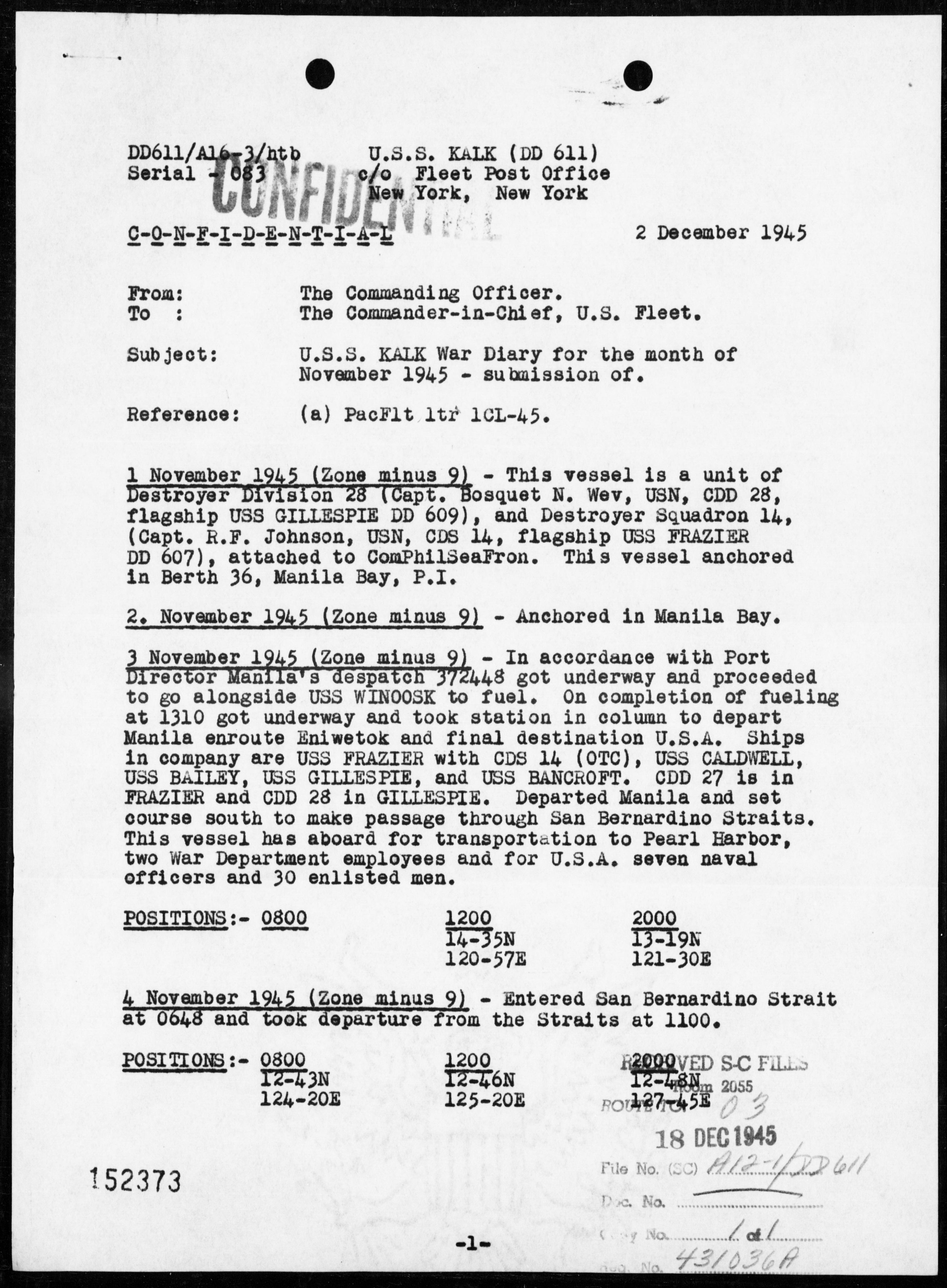 USS KALK - War Diary, 11/1-30/45