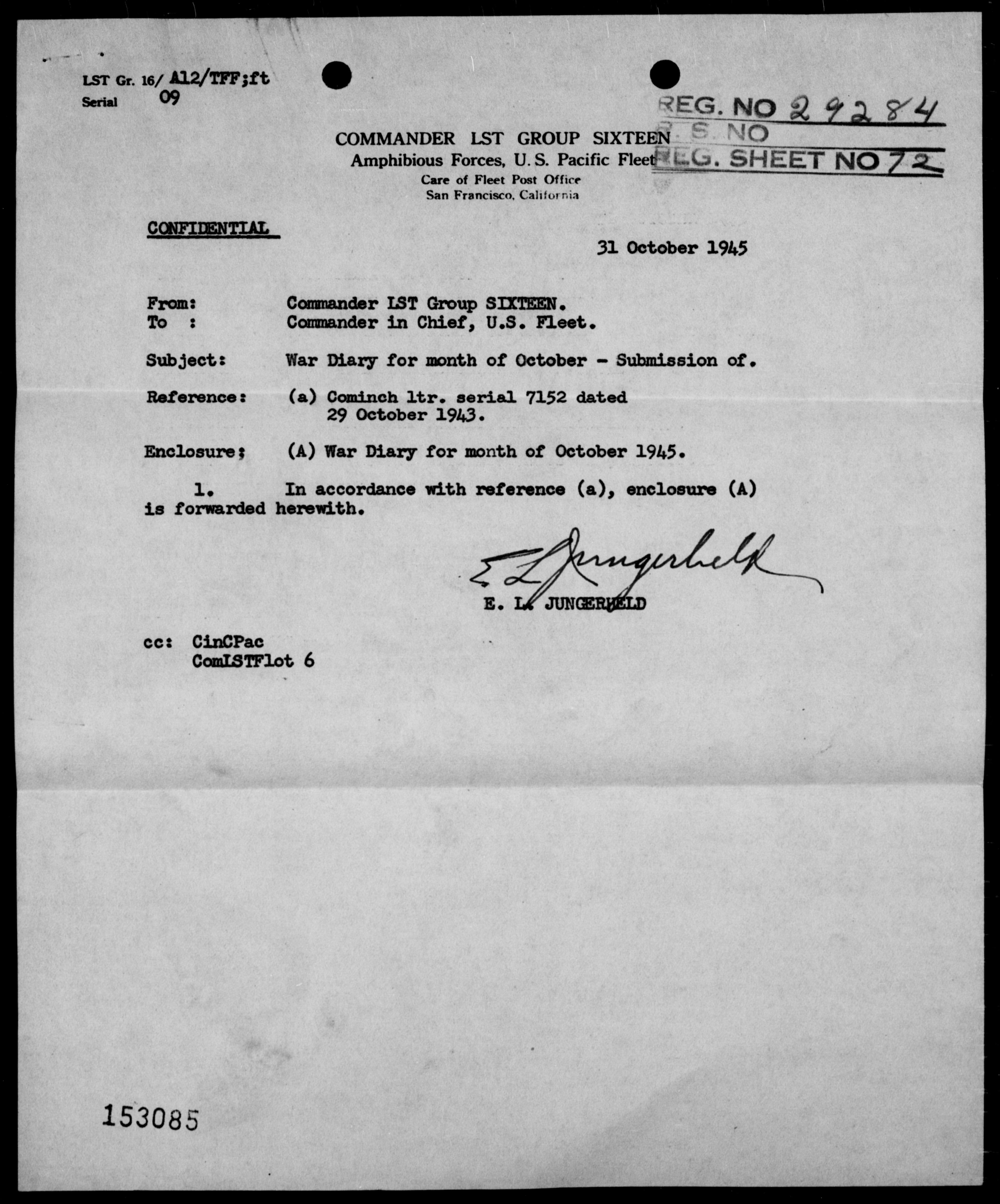 COM LST GR 16 - War Diary, 10/1-31/45