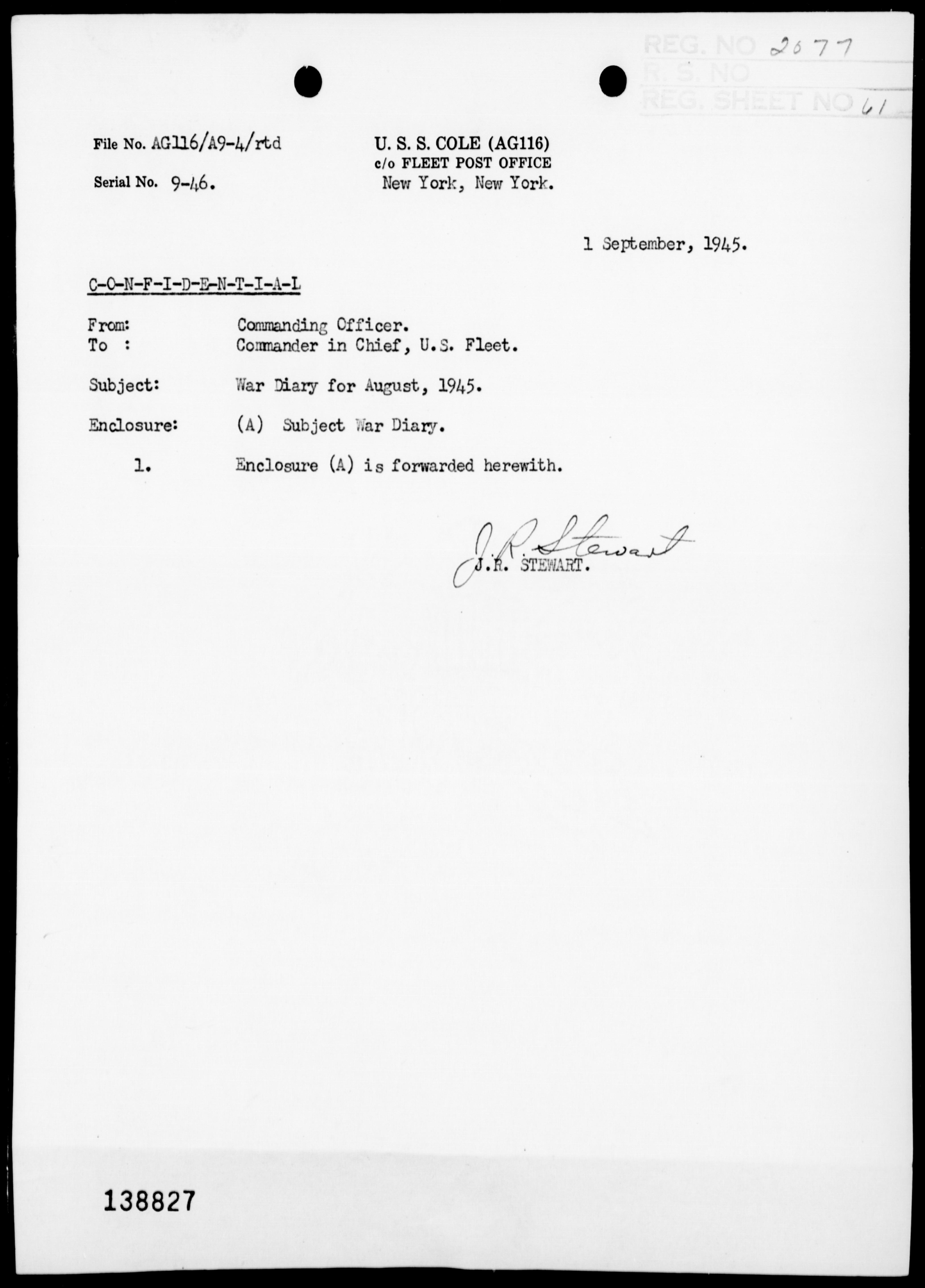 USS COLE - War Diary, 8/1-31/45