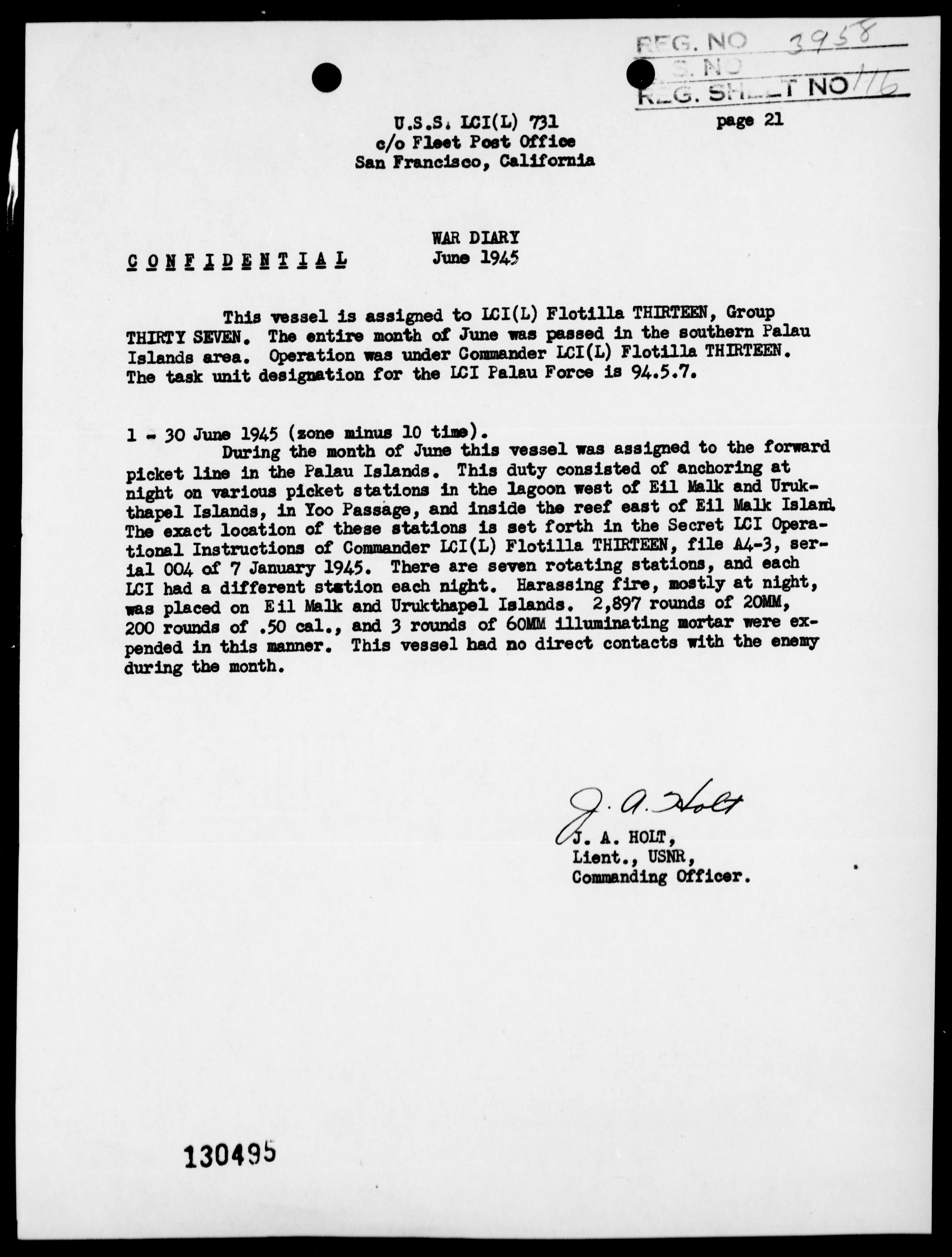 LCI(L)-731 - War Diary, 6/1-30/45