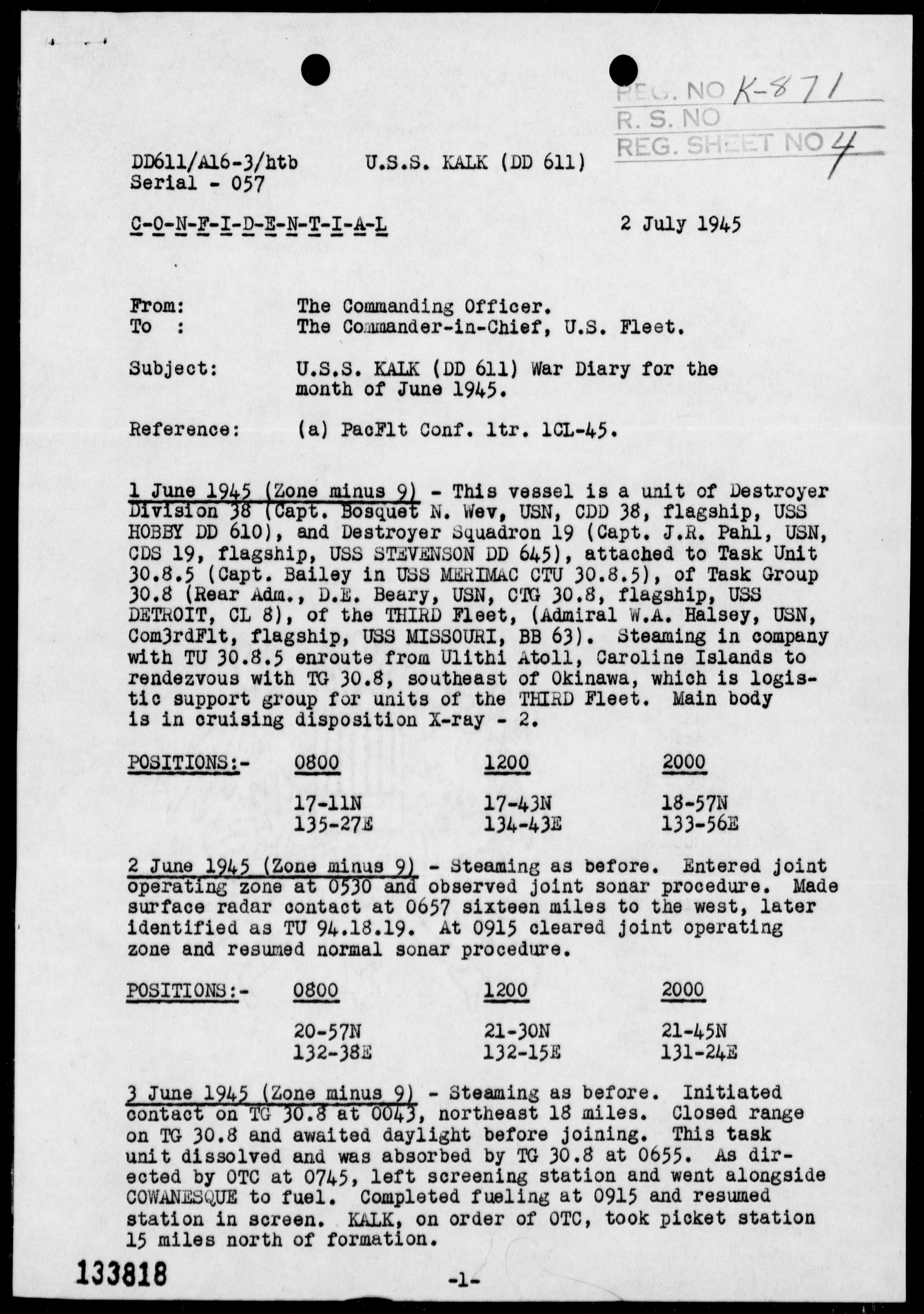 USS KALK - War Diary, 6/1-30/45