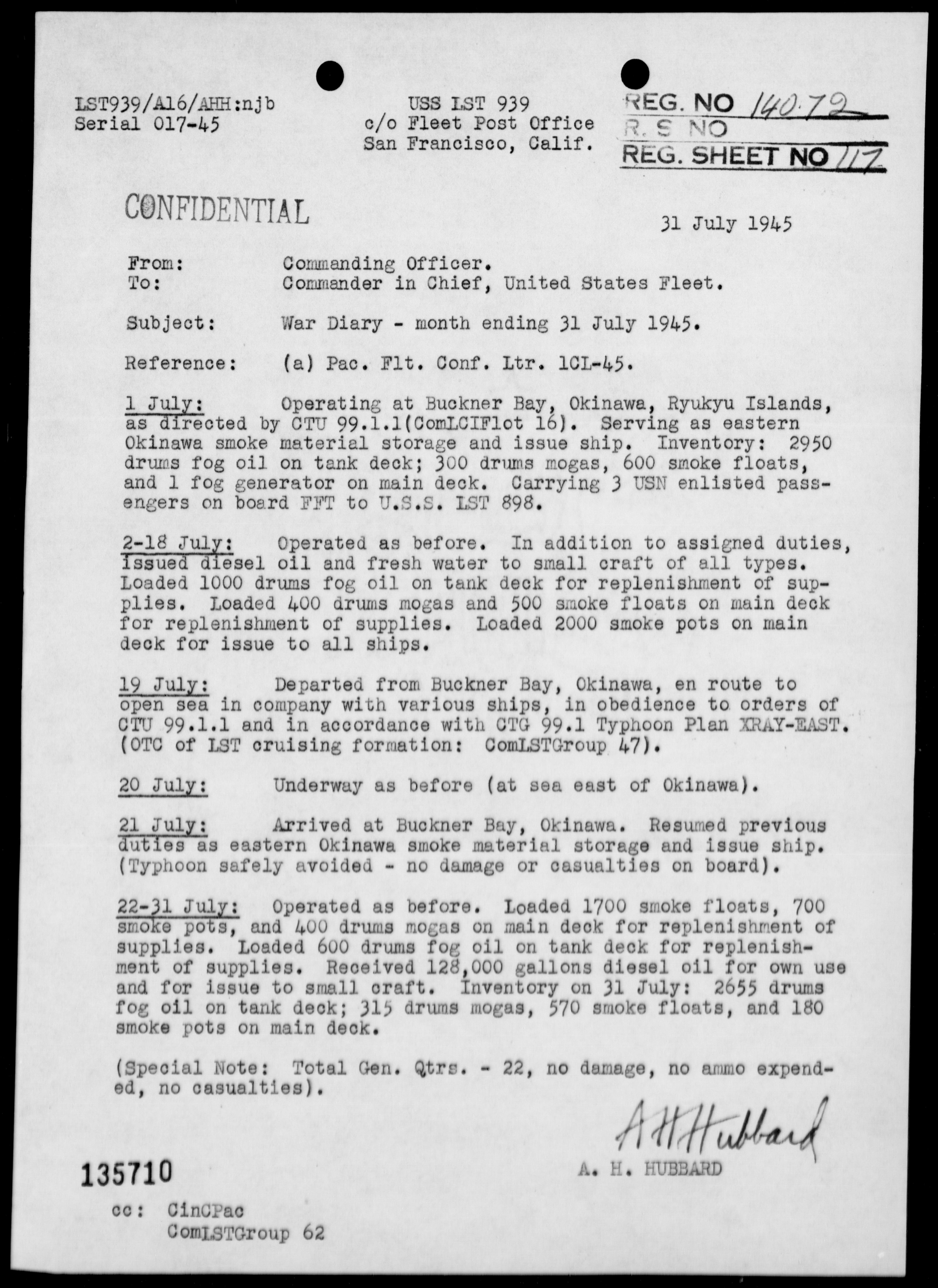 USS LST-939 - War Diary, 7/1-31/45