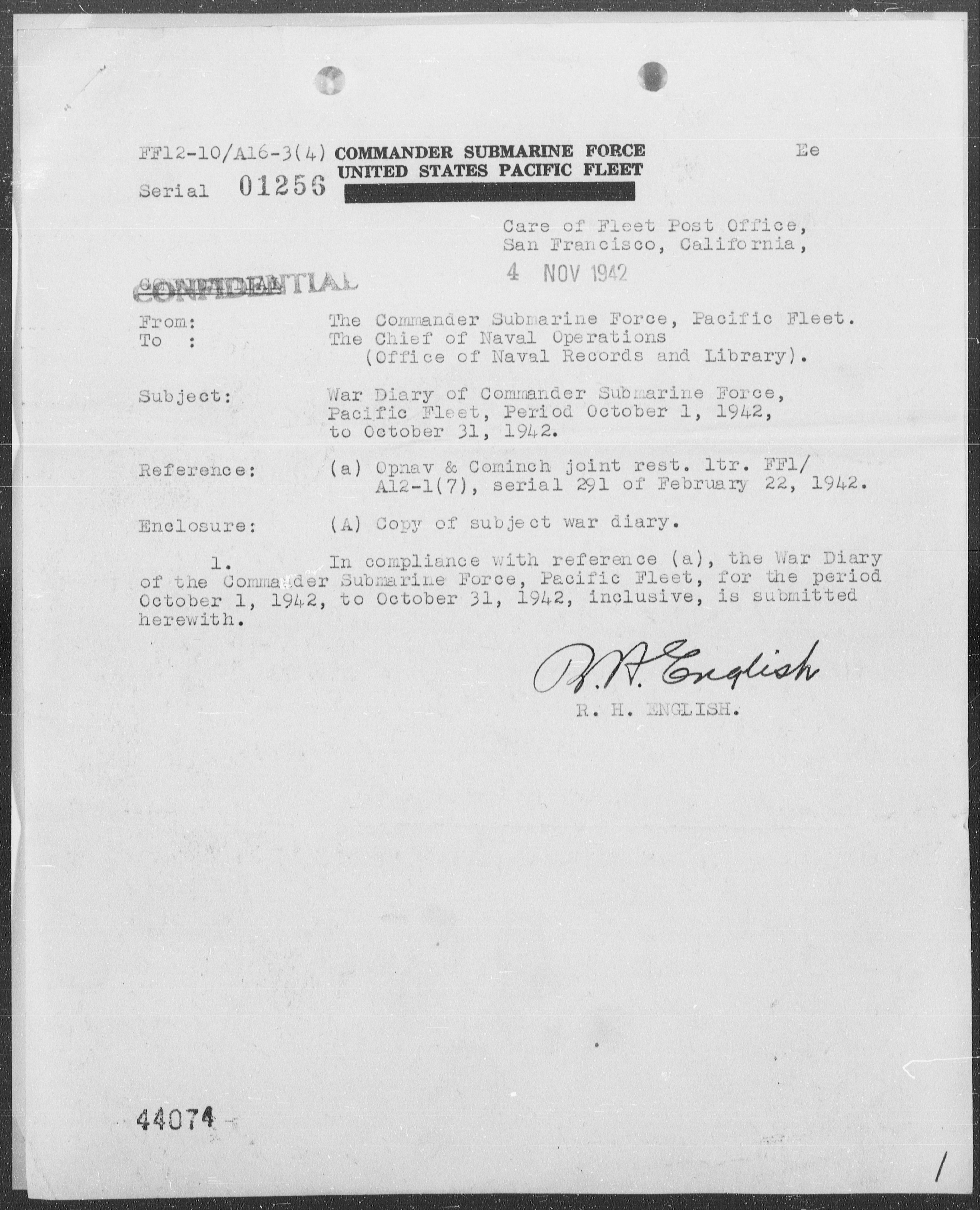 COMSUBPAC - War Diary, 10/1-31/42 (Enc A)