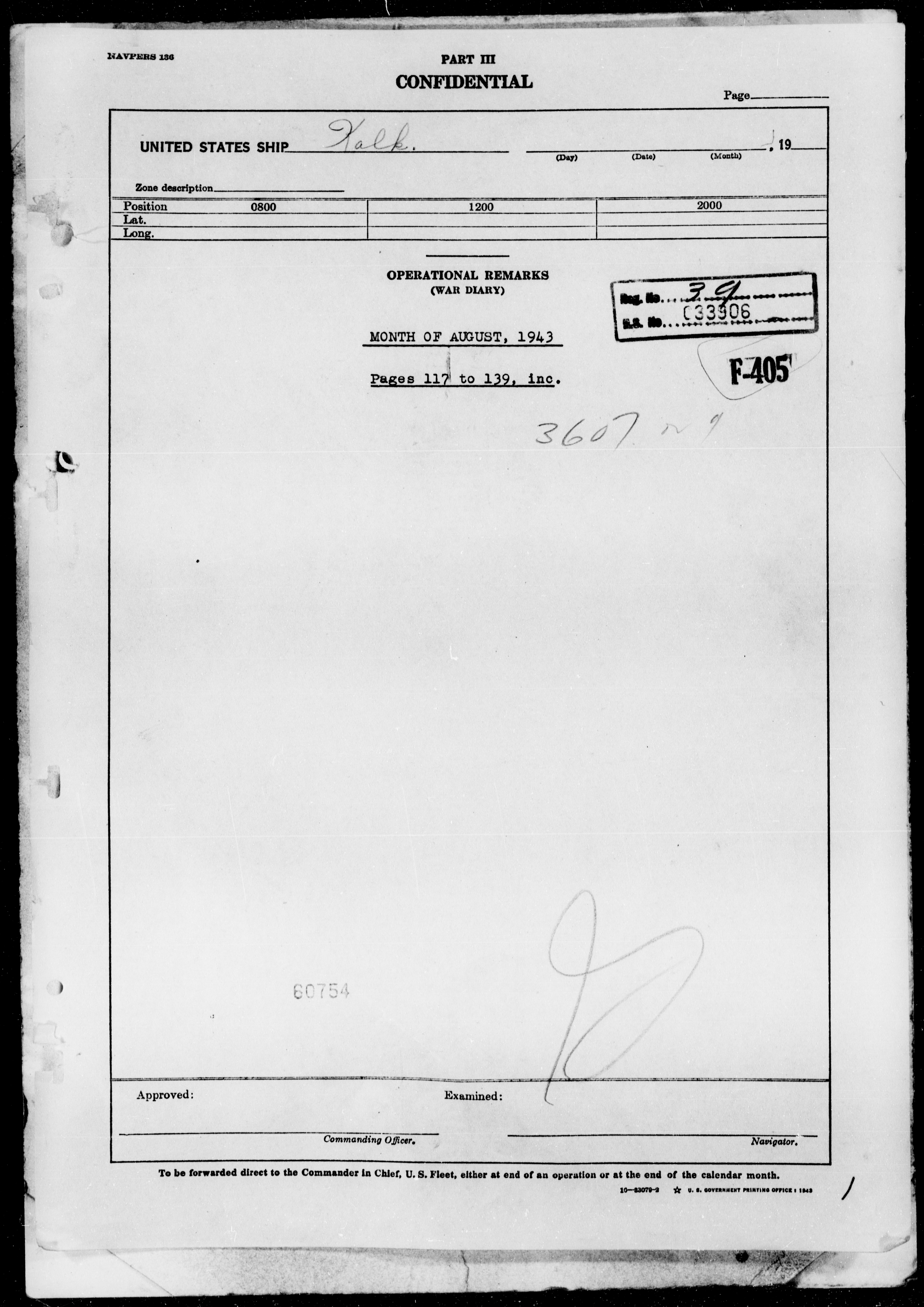 USS KALK - War Diary, 8/1/43 to 11/30/43