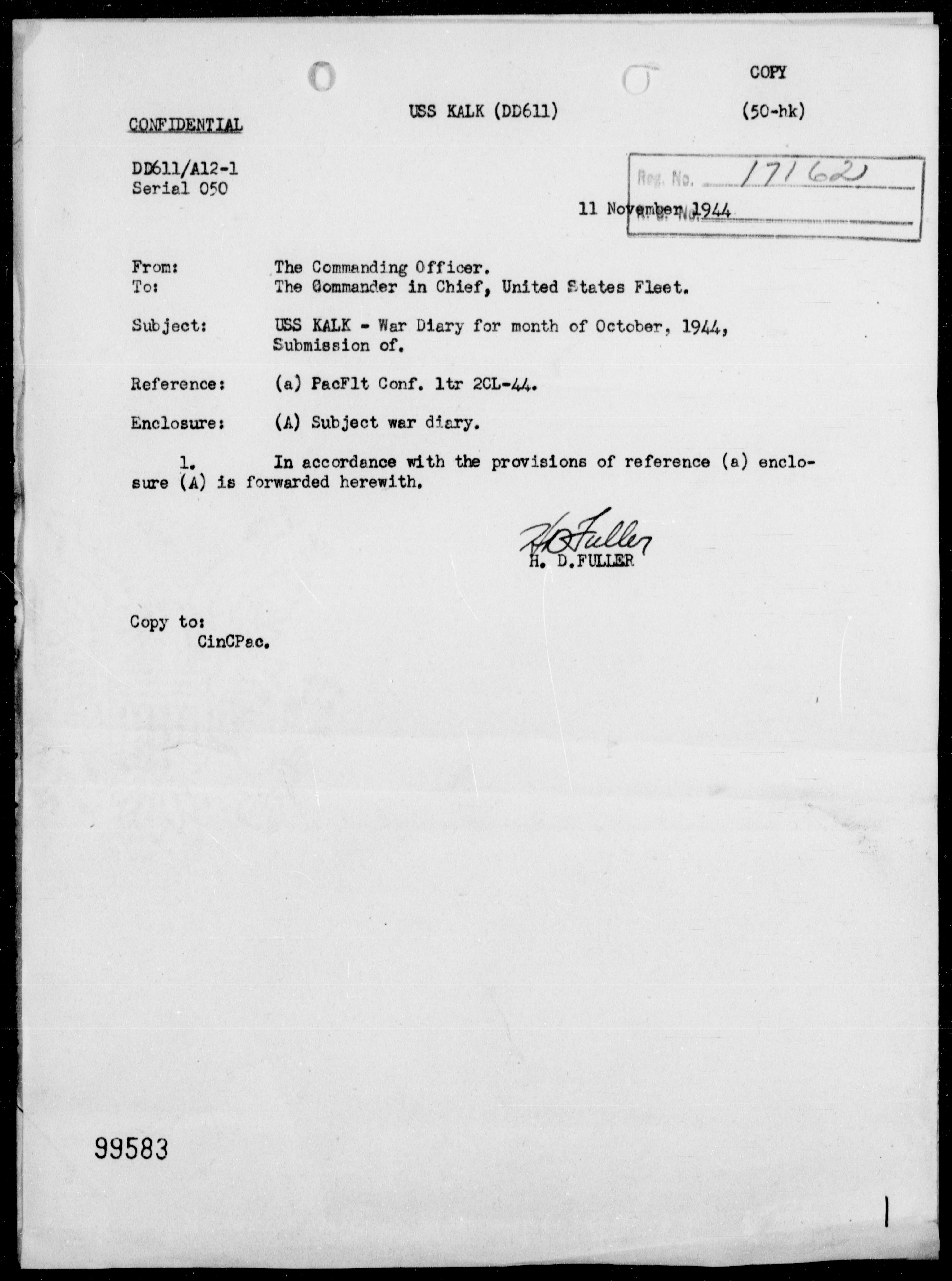 USS KALK - War Diary, 10/1-31/44