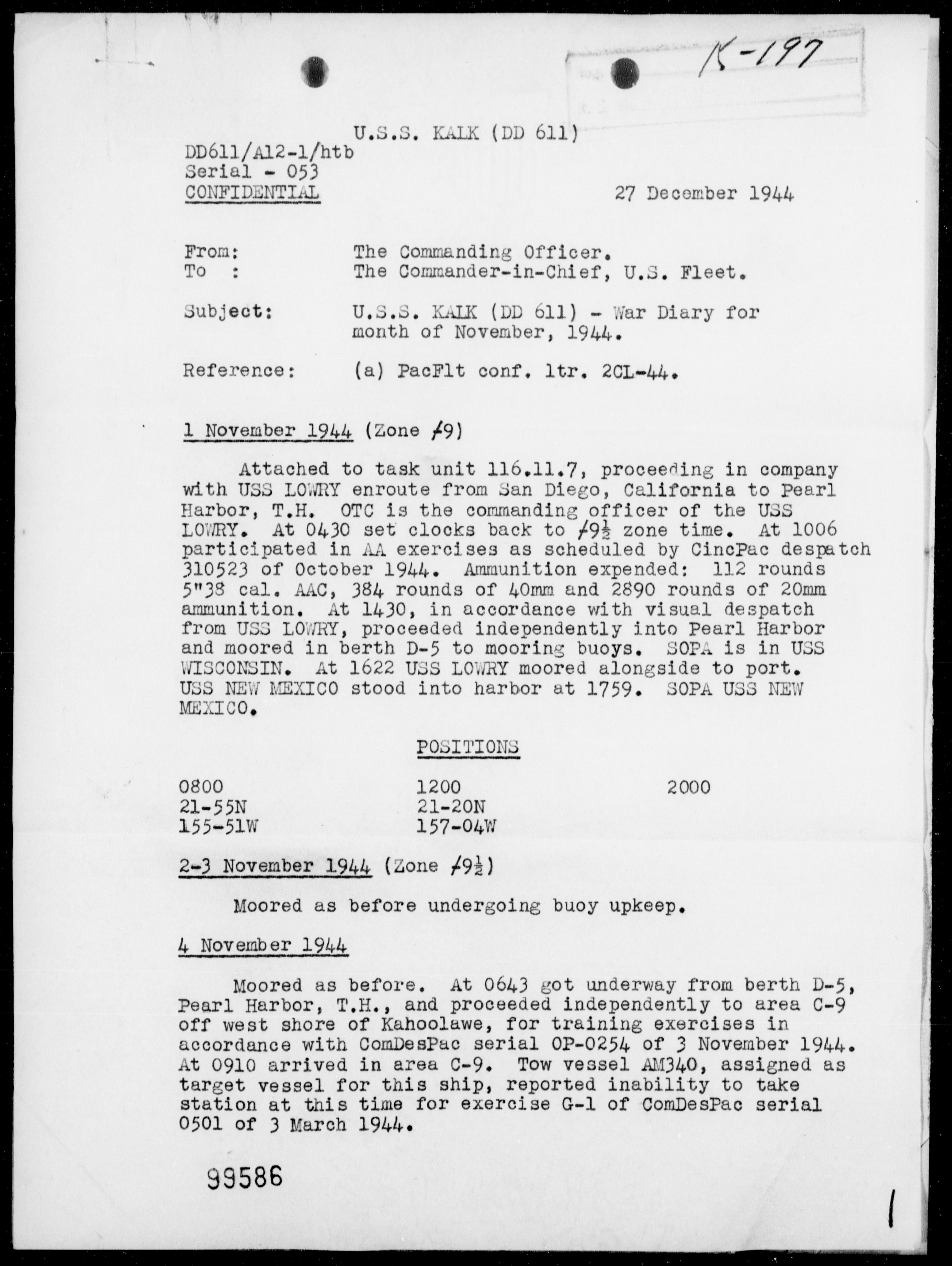 USS KALK - War Diary, 11/1-30/44