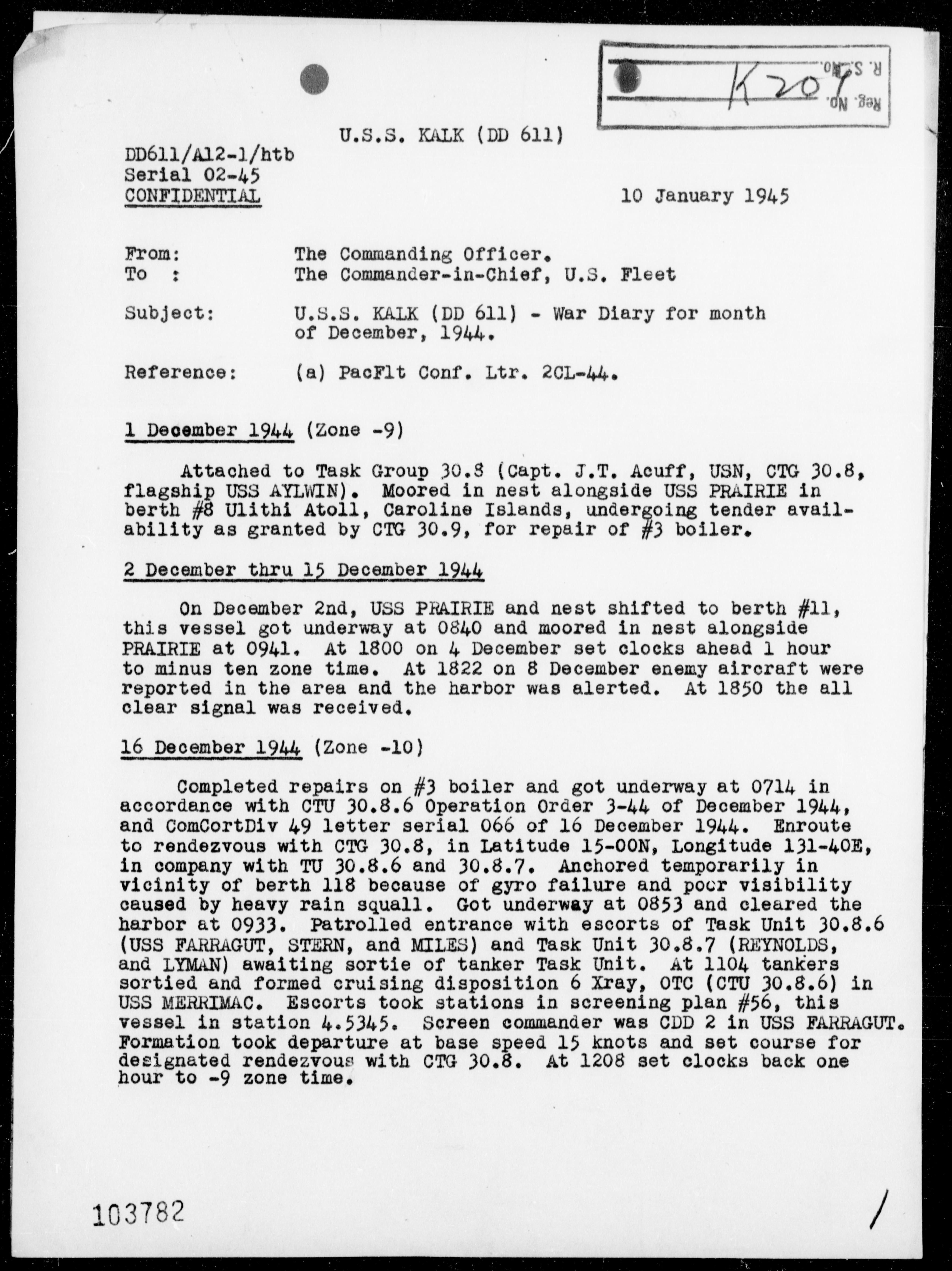 USS KALK - War Diary, 12/1-31/44