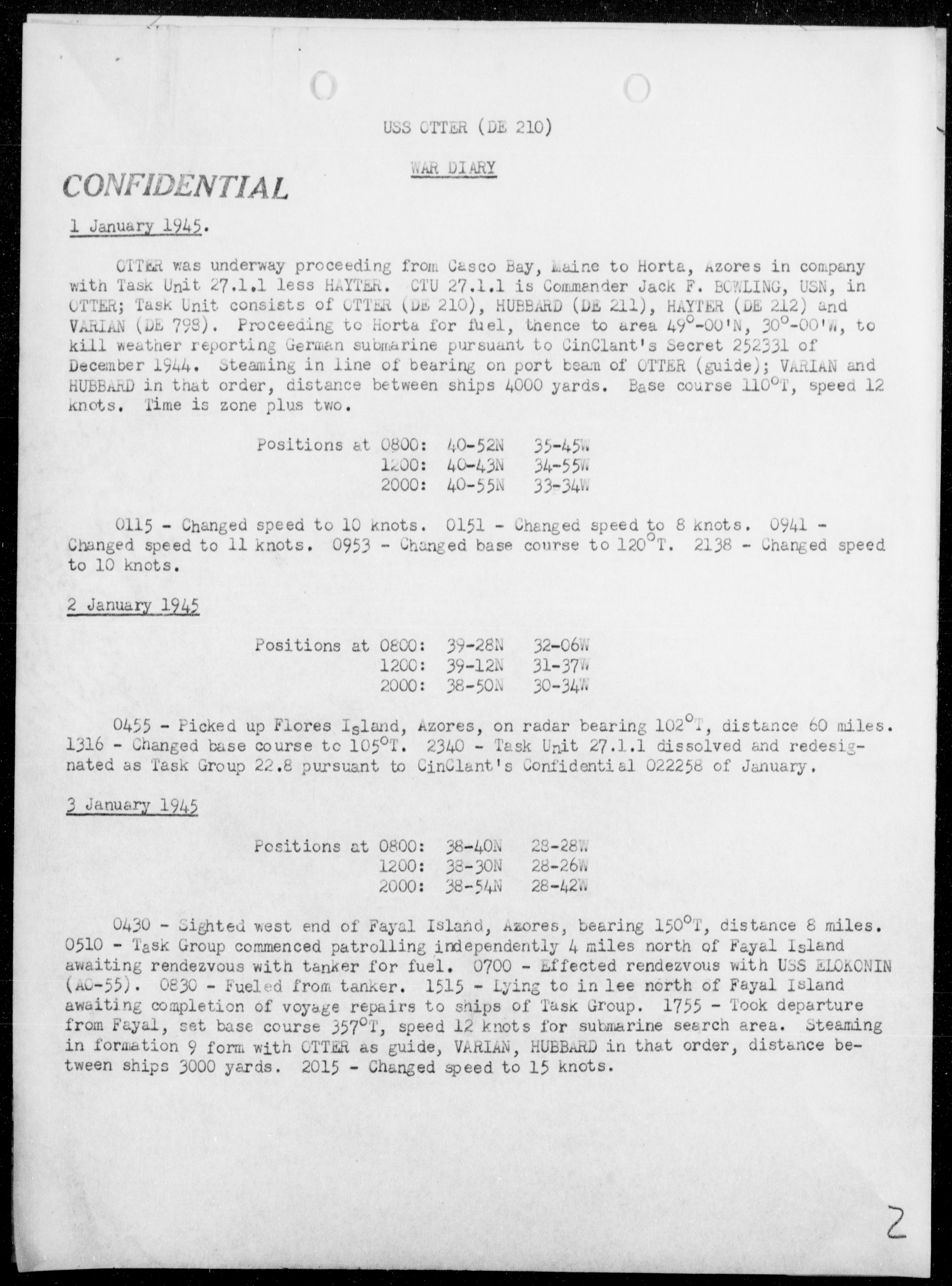 USS OTTER - War Diary, 1/1-31/45