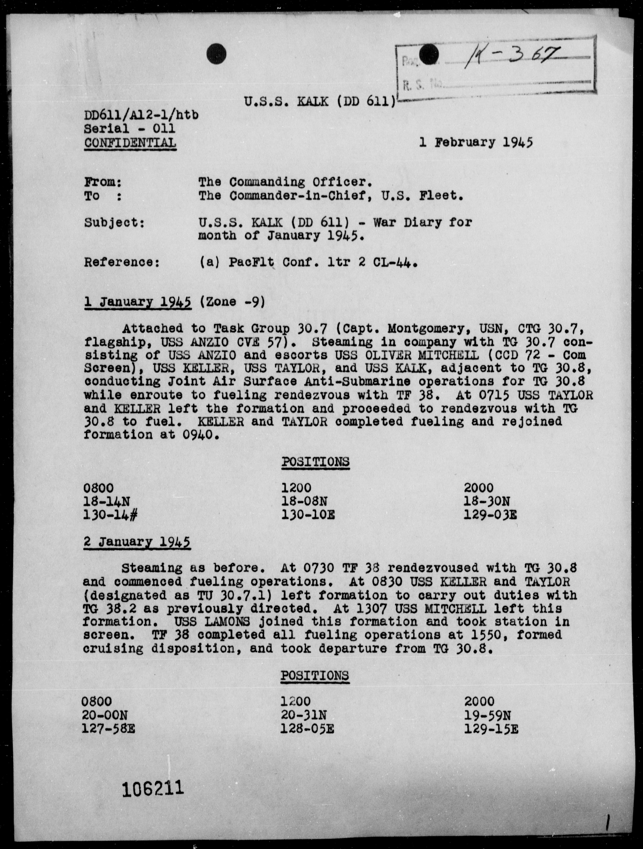 USS KALK - War Diary, 1/1-31/45