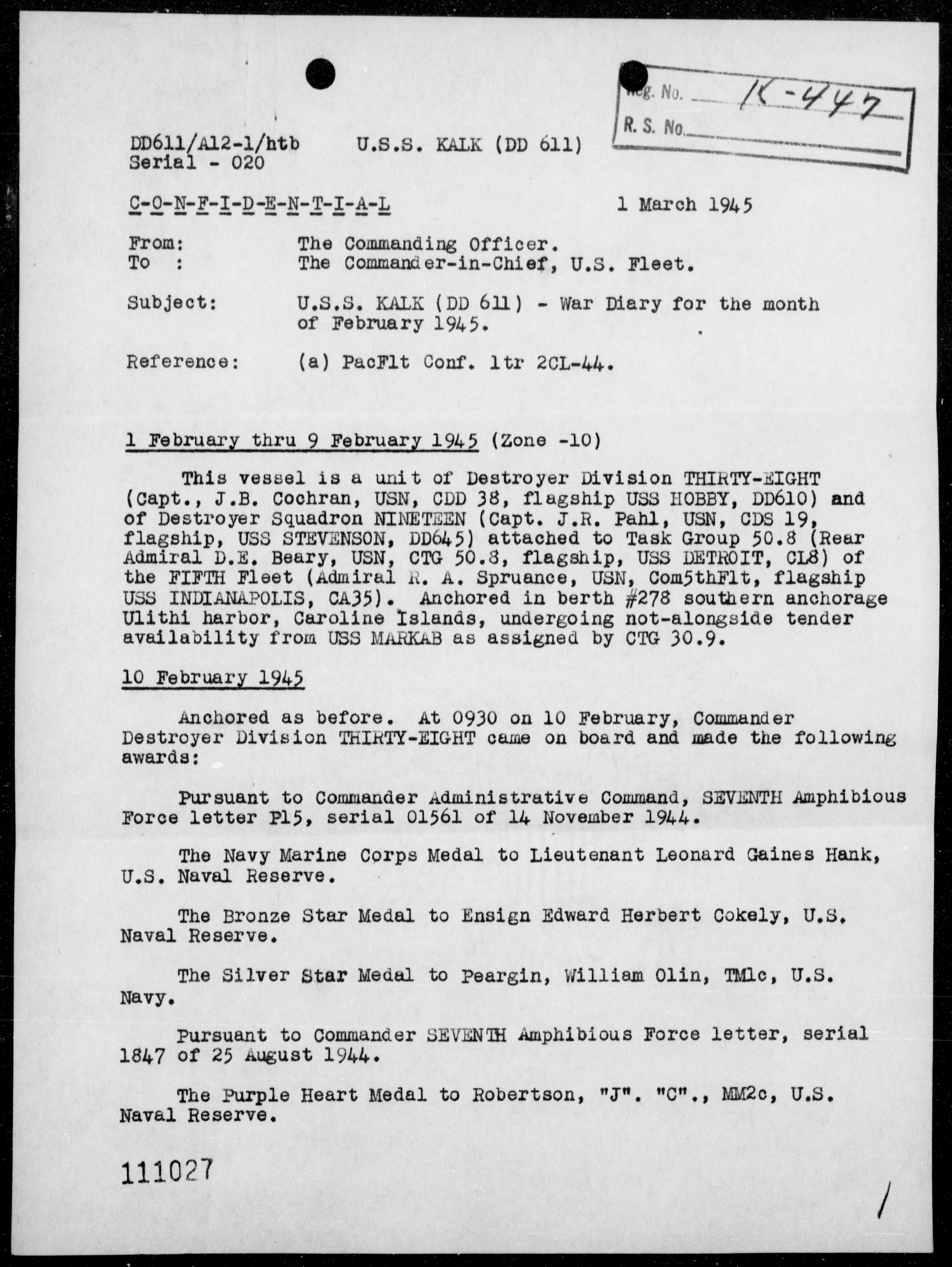 USS KALK - War Diary, 2/1-28/45