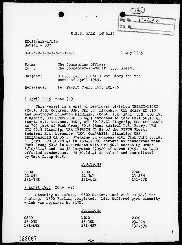 USS KALK - War Diary, 4/1-30/1945