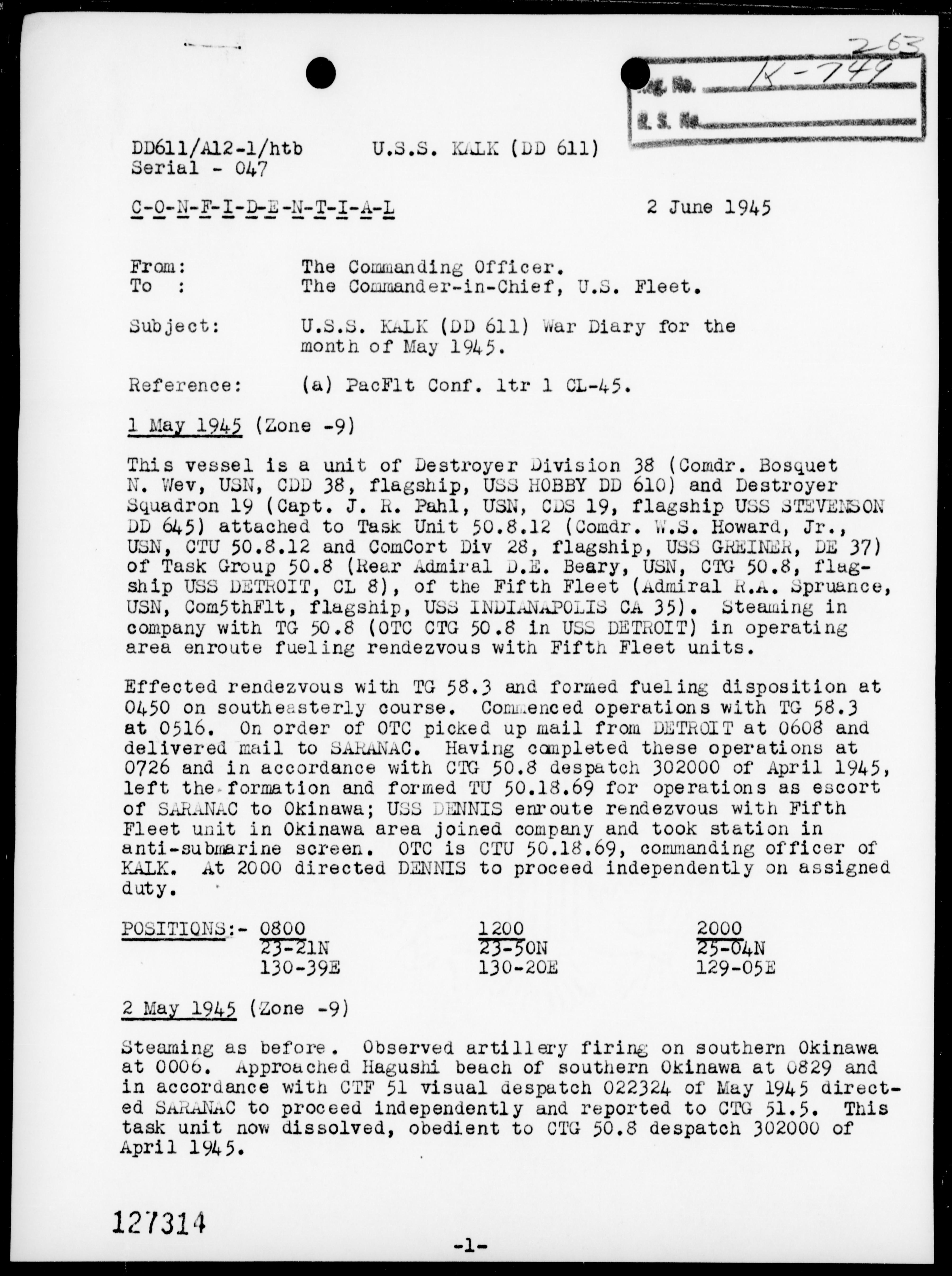 USS KALK - War Diary, 5/1-31/45