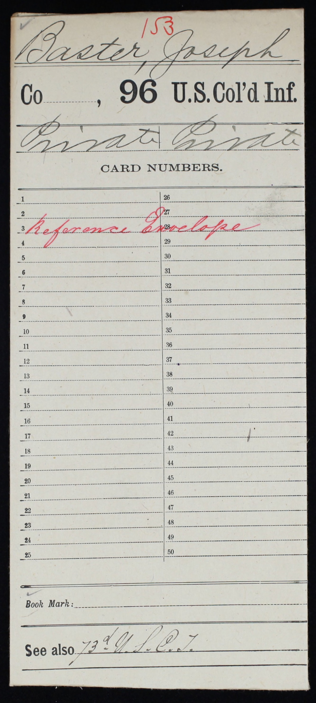 Military Service Record of Joseph Baster, United States Colored Troops: 96th US Colored Infantry