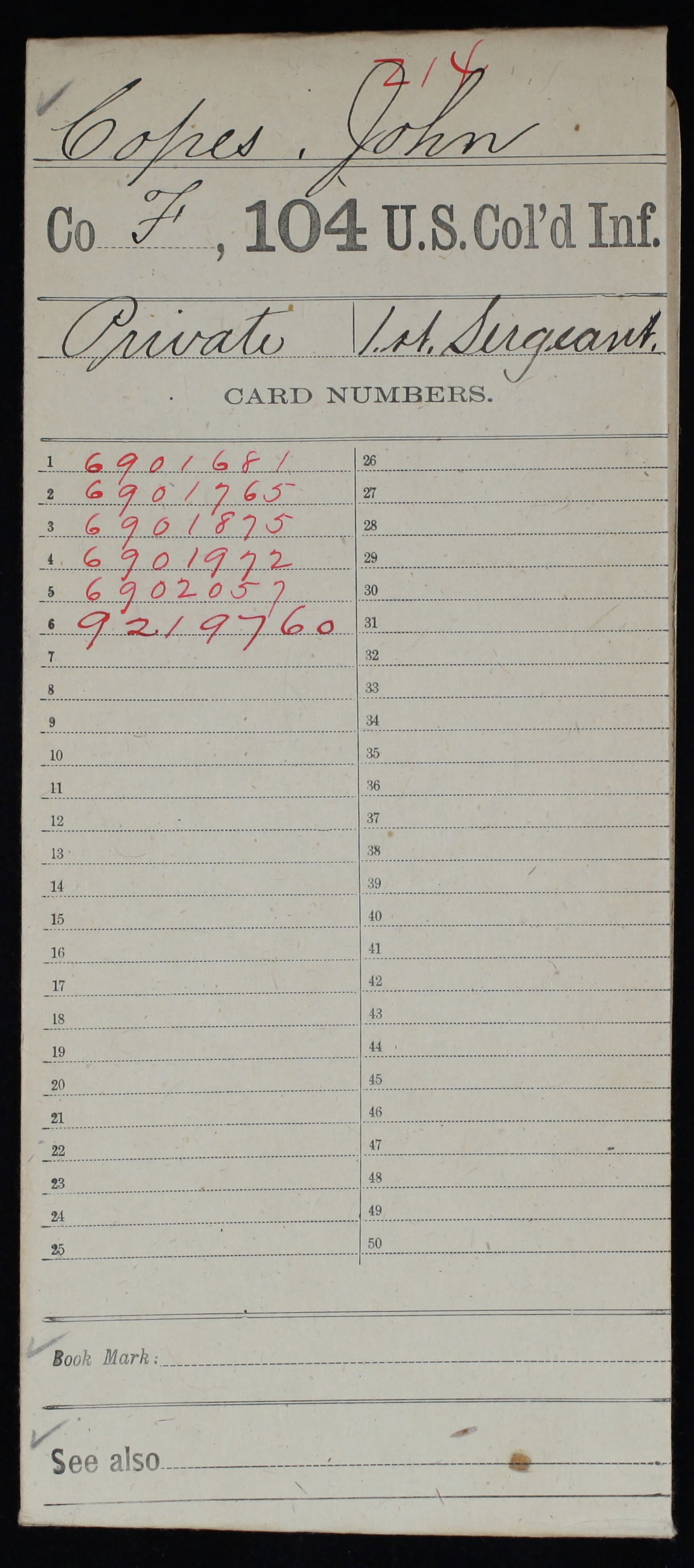 Military Service Record of John Copes, United States Colored Troops: 104th US Colored Infantry