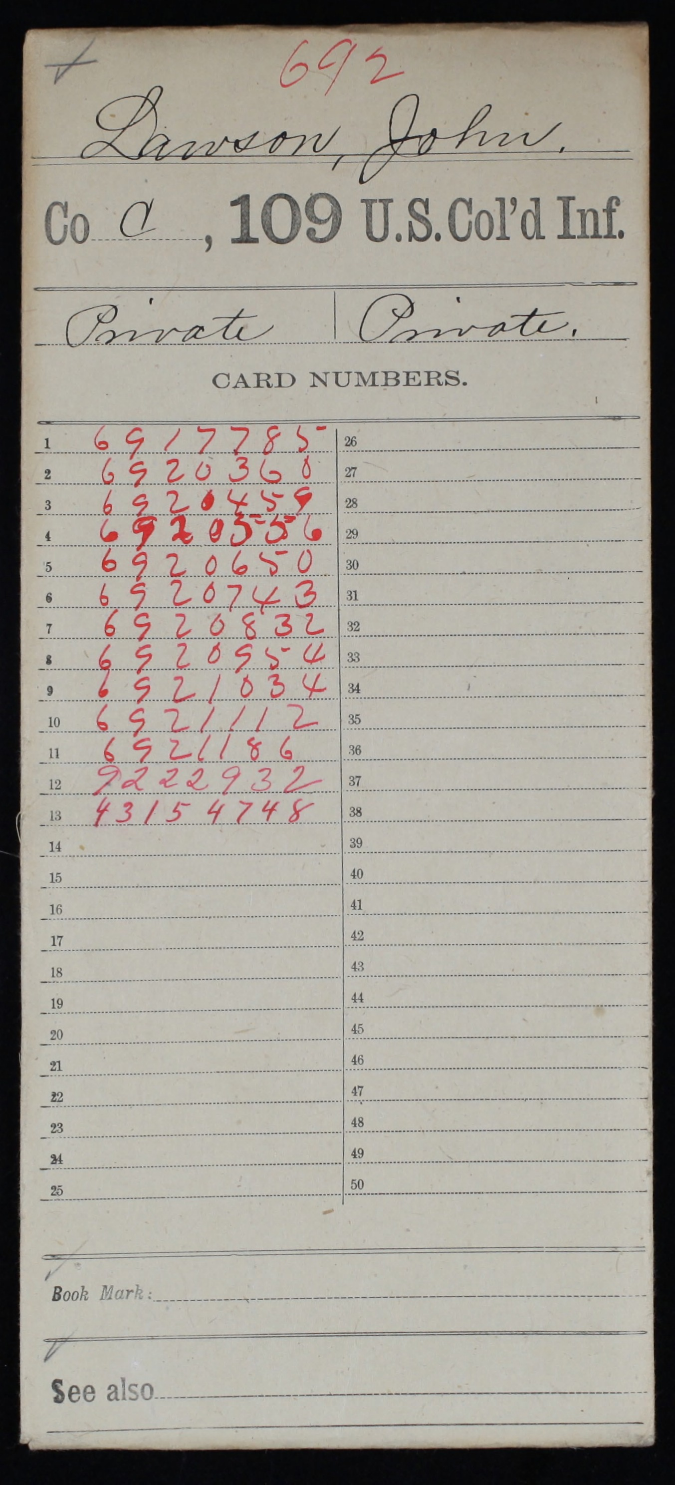 Military Service Record of John Lawson, United States Colored Troops: 109th US Colored Infantry