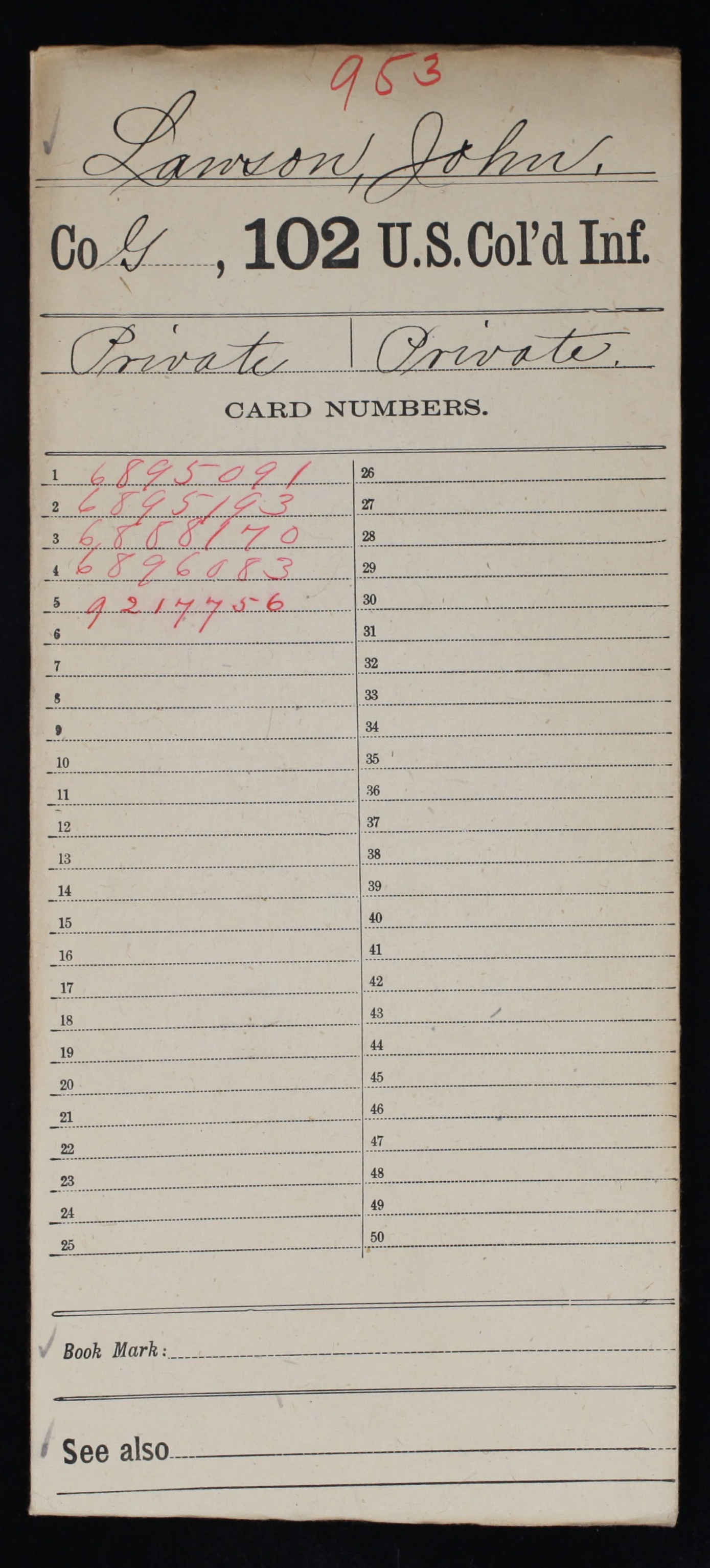 Military Service Record of John Lawson, United States Colored Troops: 102nd US Colored Infantry