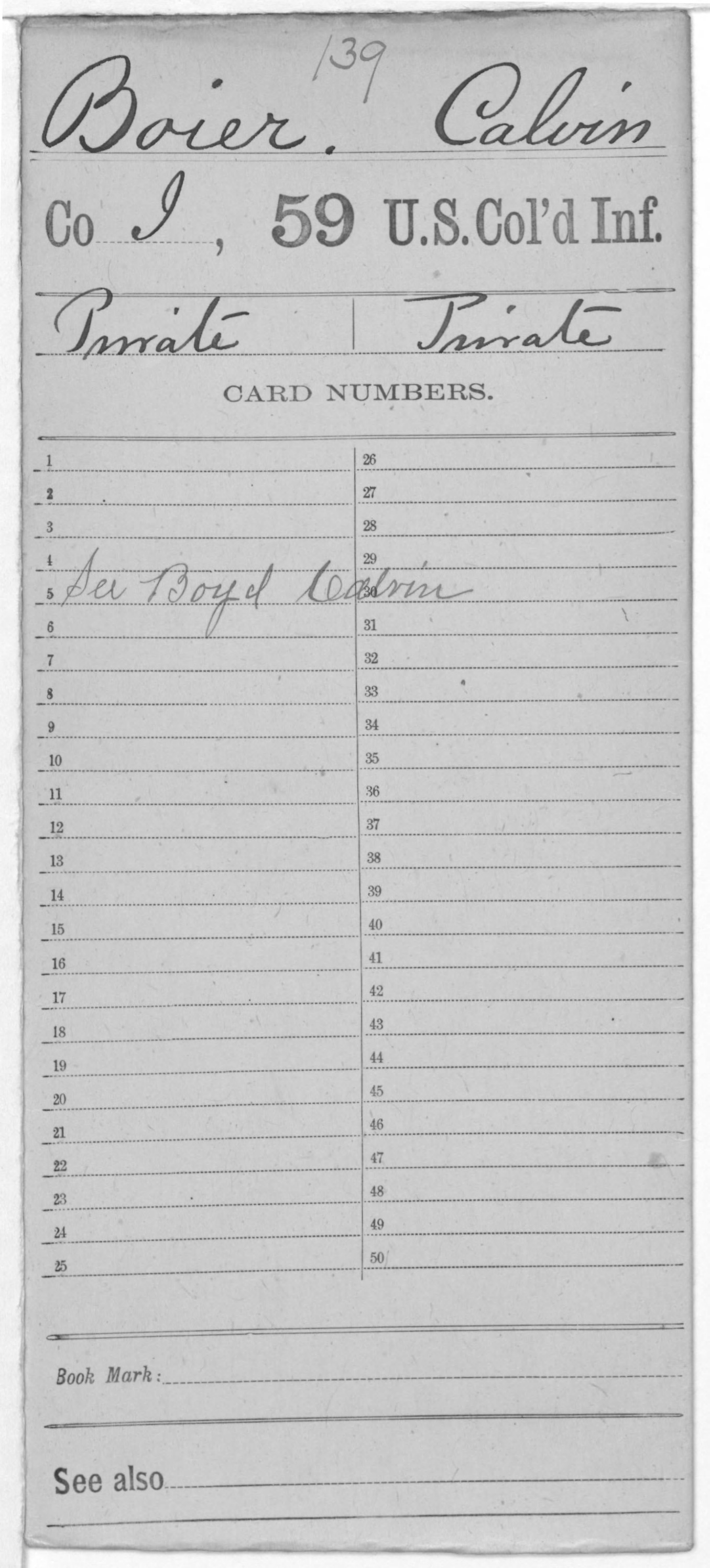 Military Service Record of Calvin Boier, United States Colored Troops: 59th US Colored Infantry
