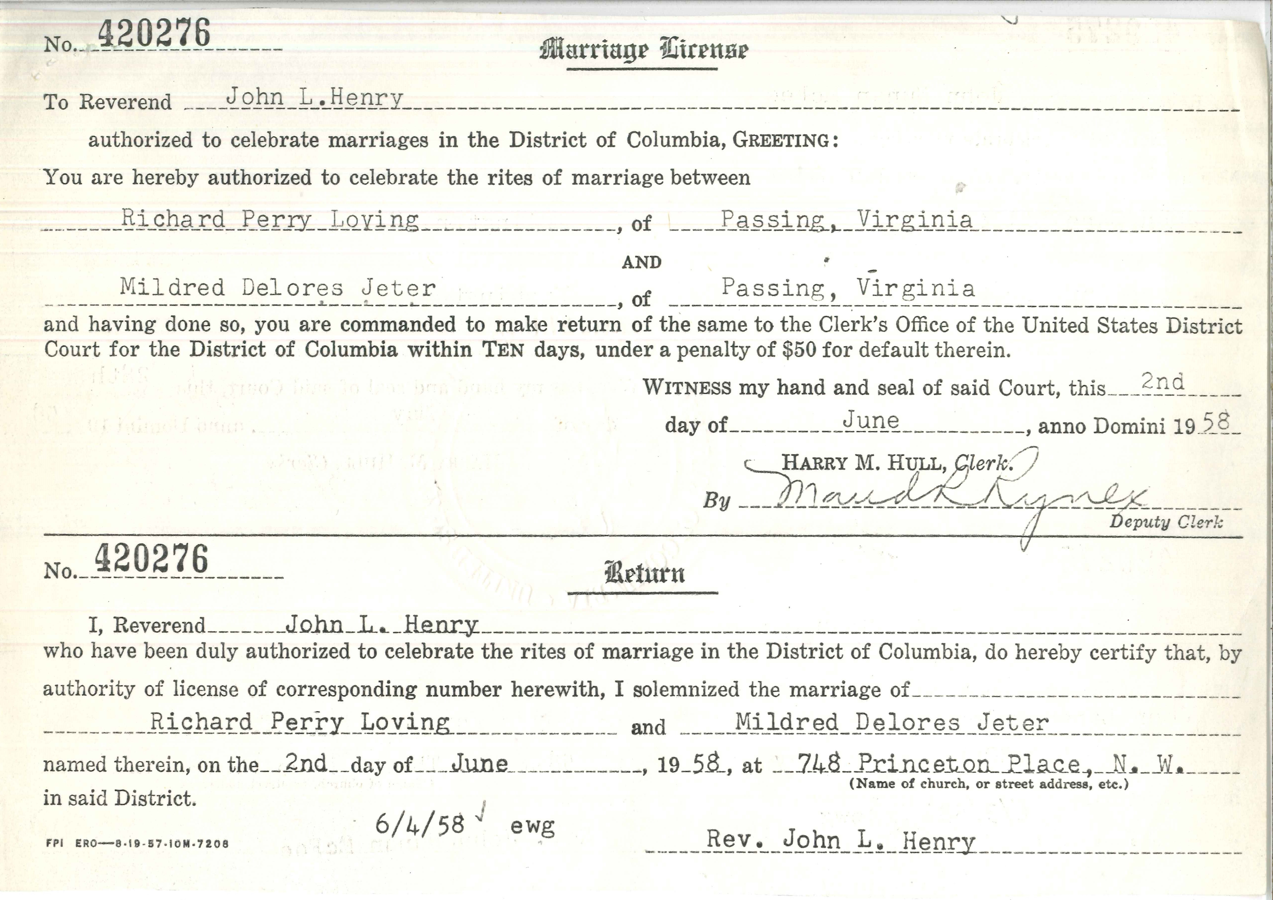 Marriage License For Richard Perry Loving And Mildred Delores Jeter