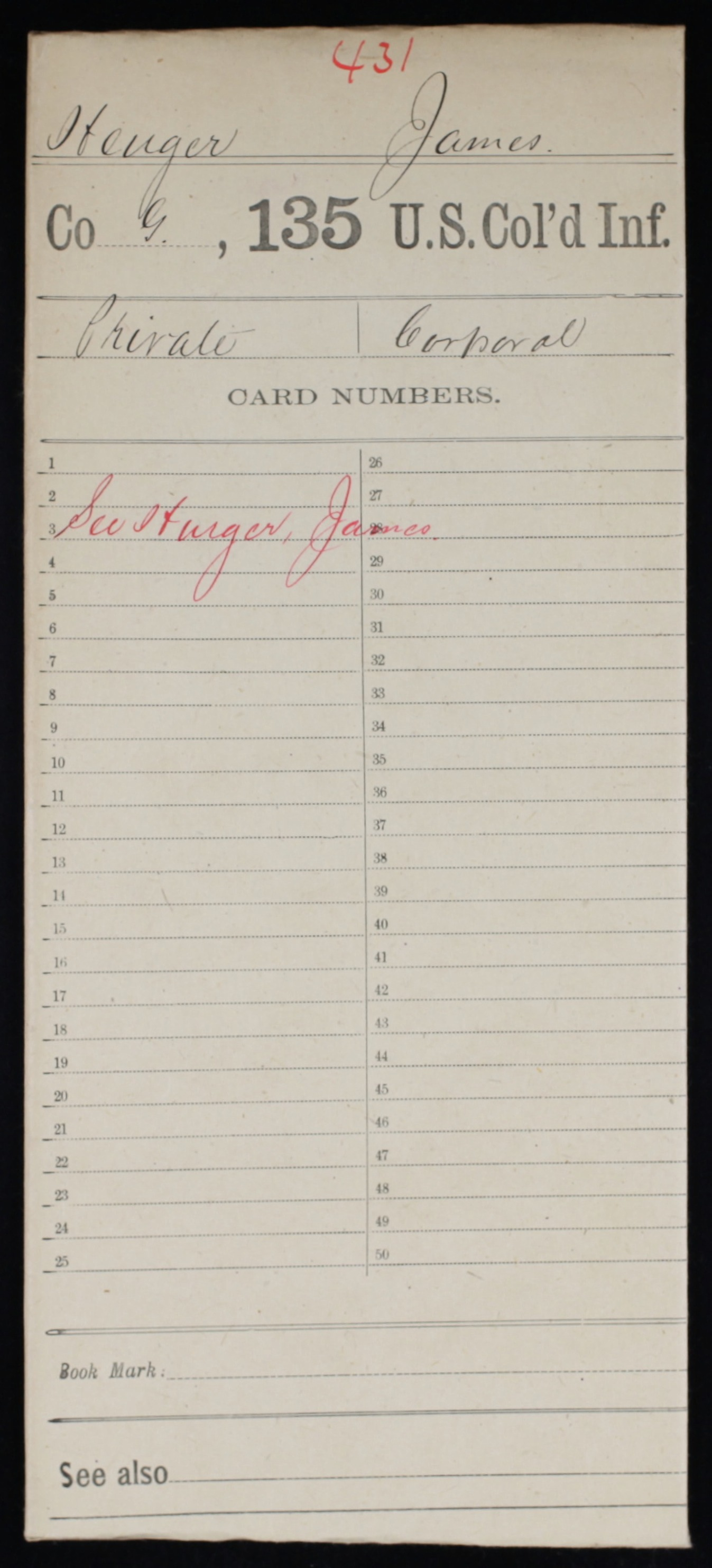 Military Service Record of James Henger, 135th US Colored Infantry