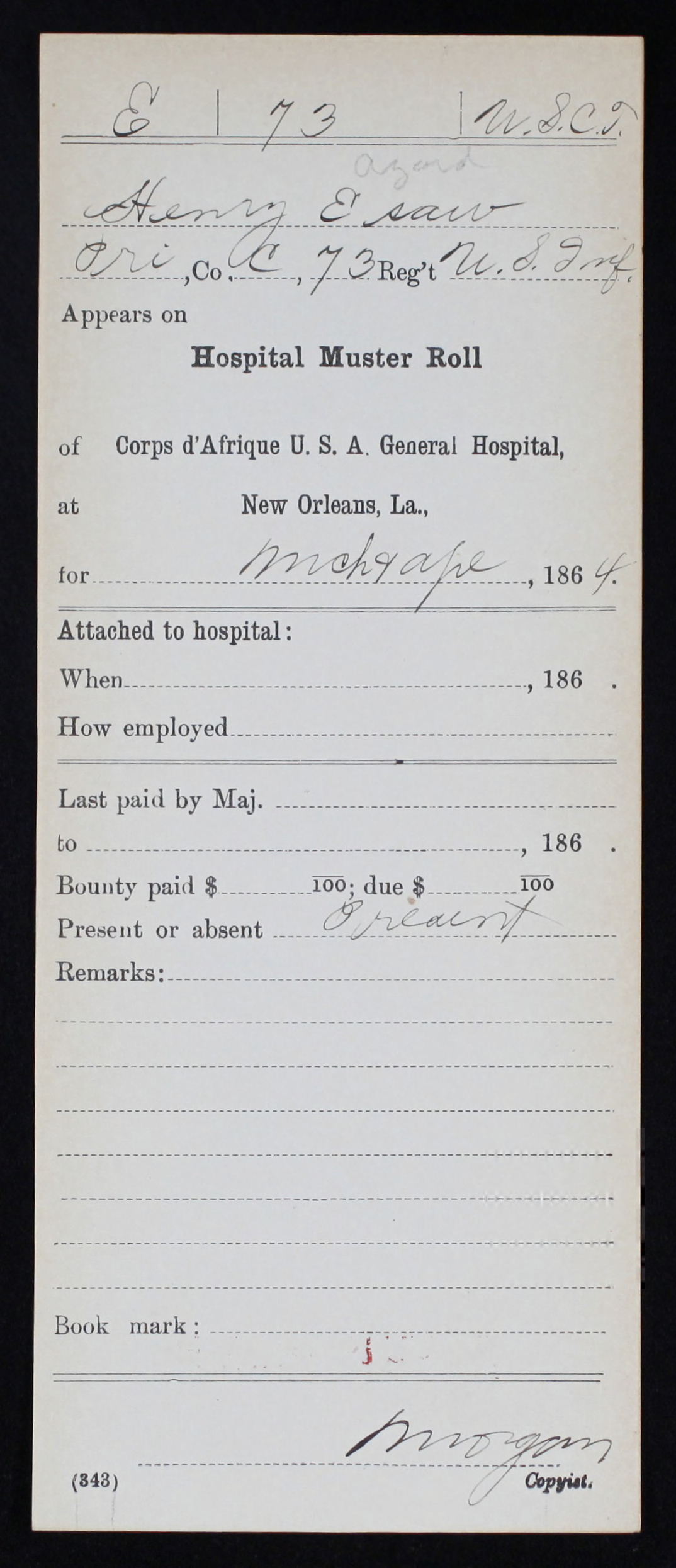 Military Service Record of Henry Esaw, 73rd US Colored Infantry